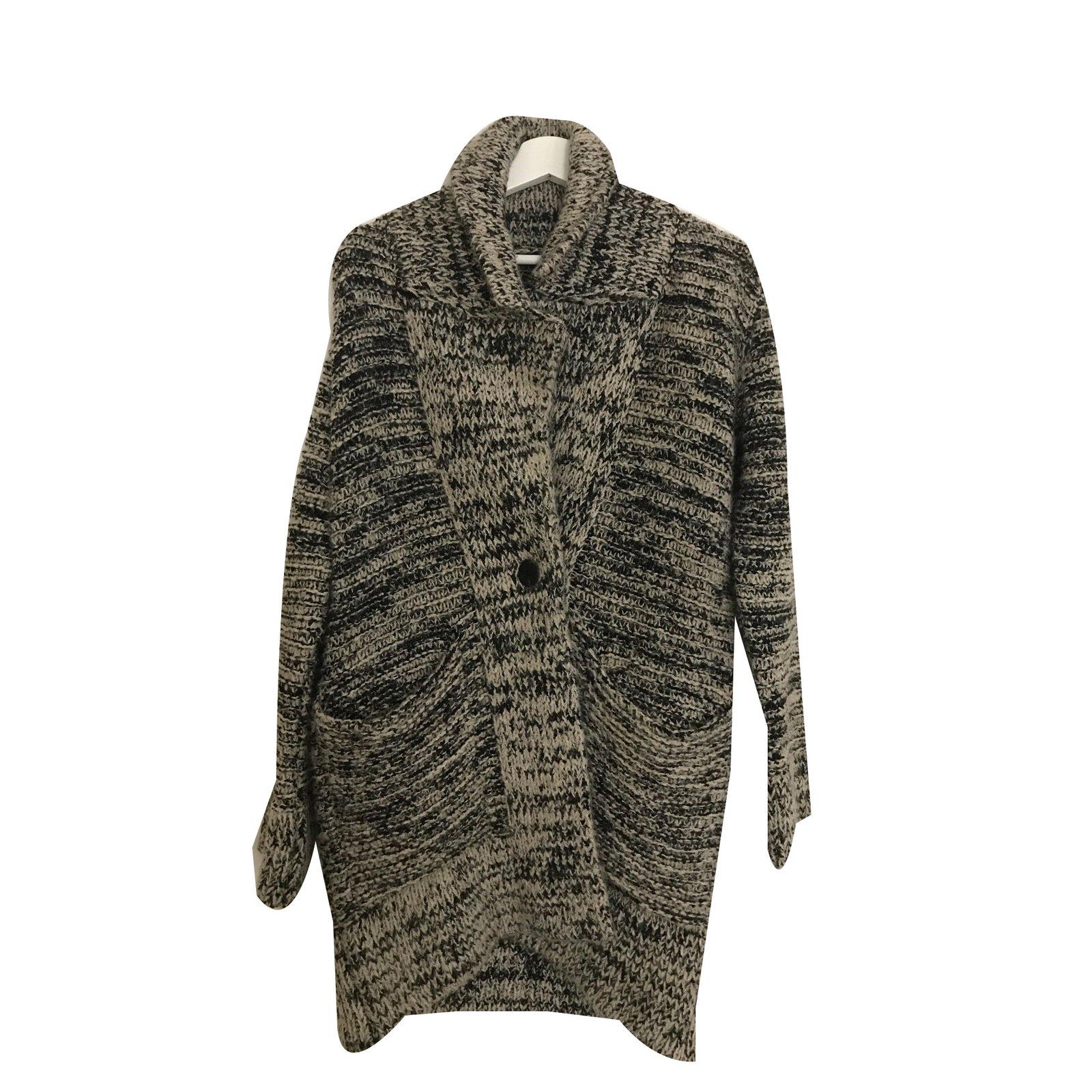 pulls gilets zara manteau coton laine gris. Black Bedroom Furniture Sets. Home Design Ideas