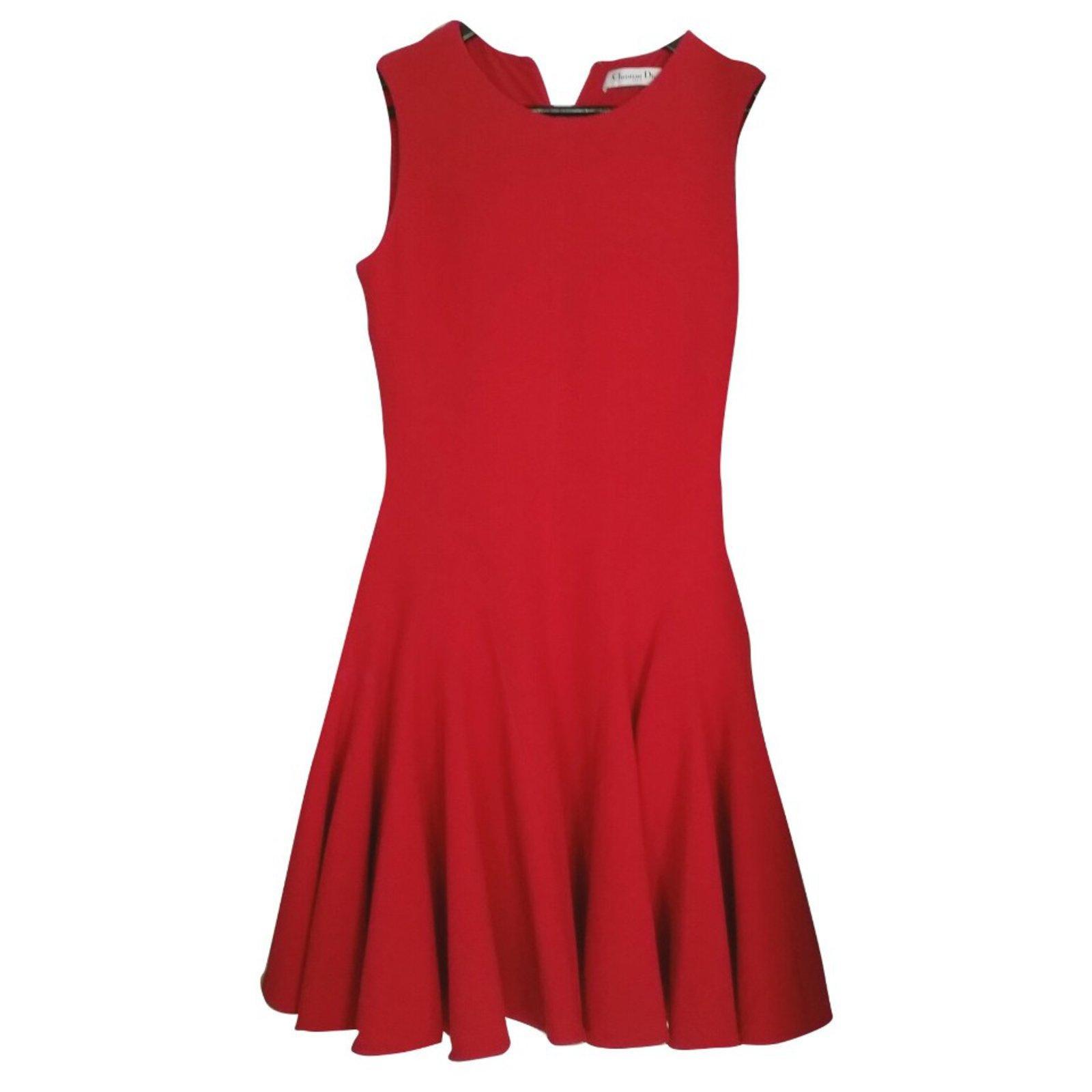 Dior Magnificent Signature Red Dress Dresses Wool Ref 50027