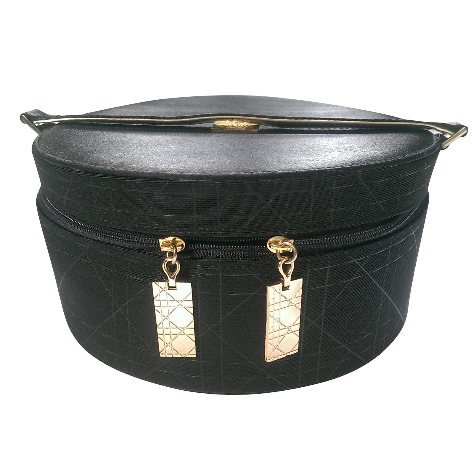 Dior Round Jewelry Box Purses Wallets Cases Cloth Satin Black Ref
