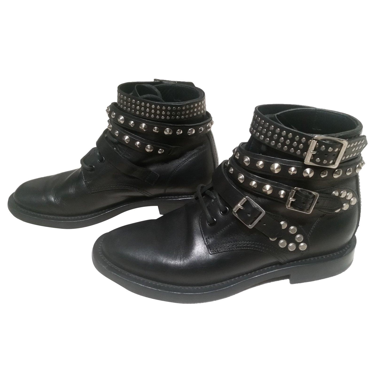 Leather Yves 50101 Laurent ref Saint Boots Black Boots JT35F1ulKc