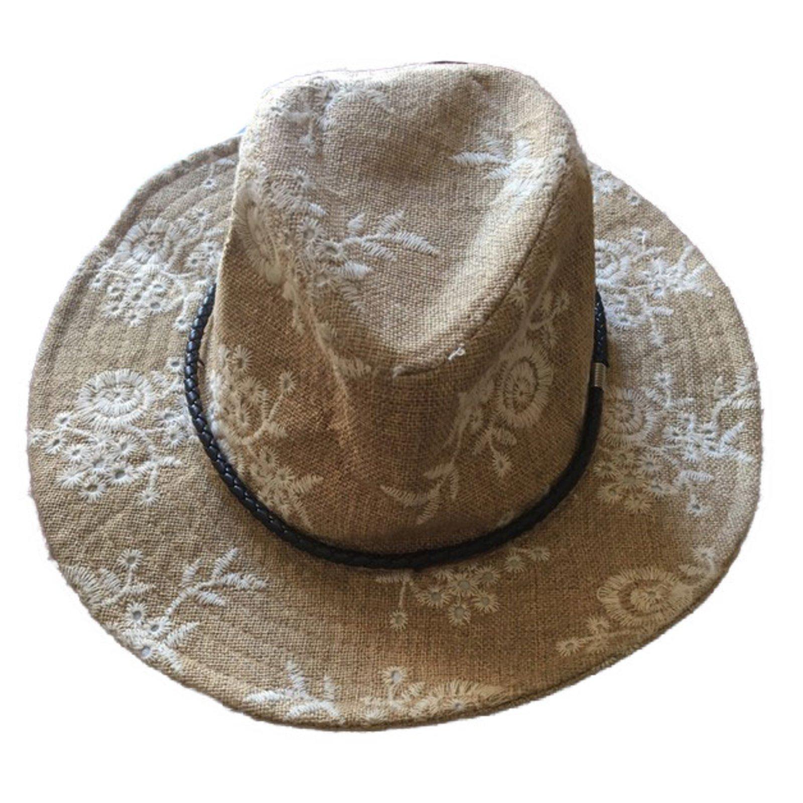 chapeaux inconnue chapeau style borsalino coton noir blanc. Black Bedroom Furniture Sets. Home Design Ideas