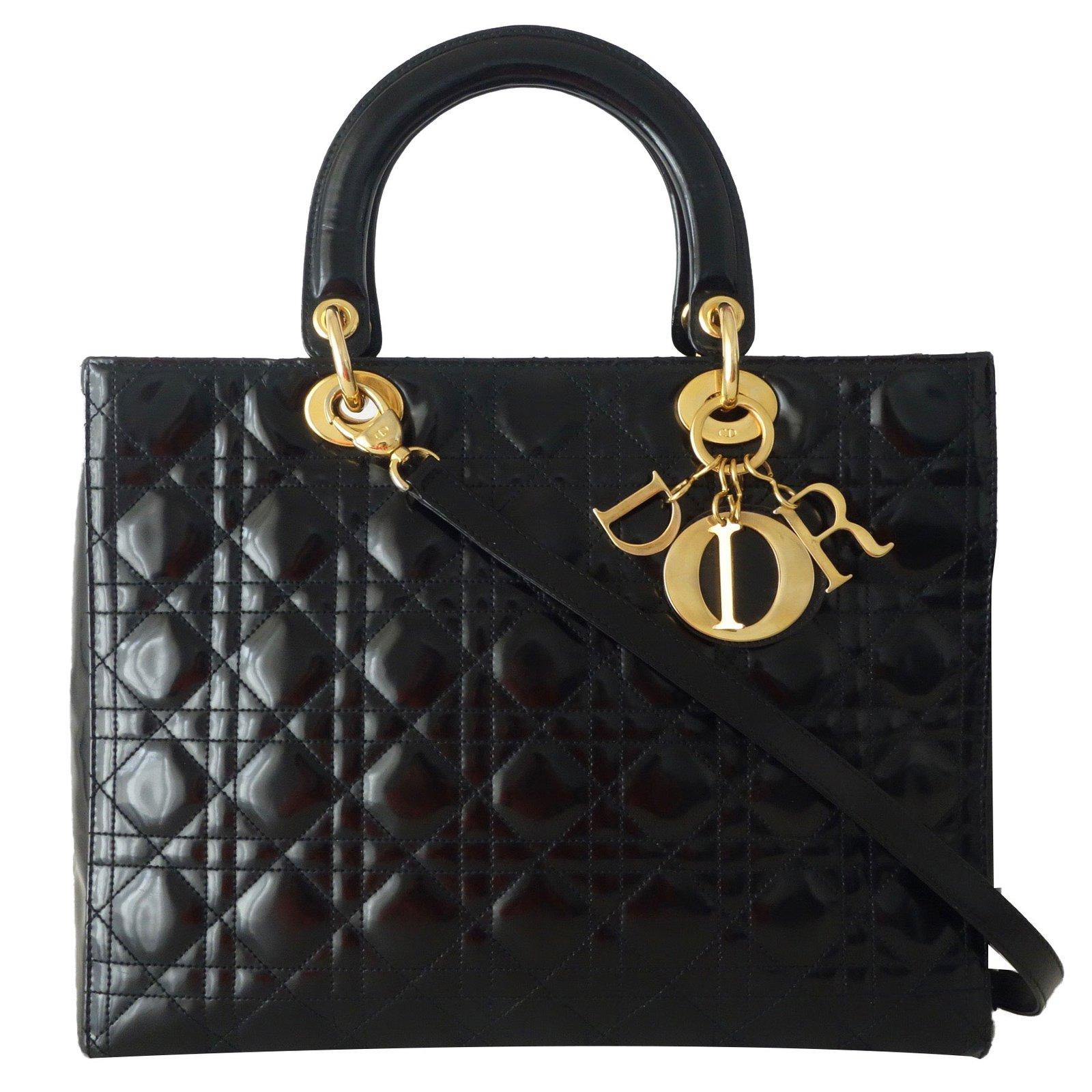 6d15204d376 Sacs à main Dior SAC LADY DIOR GRAND MODELE NOIR Cuir vernis Noir ref.50971