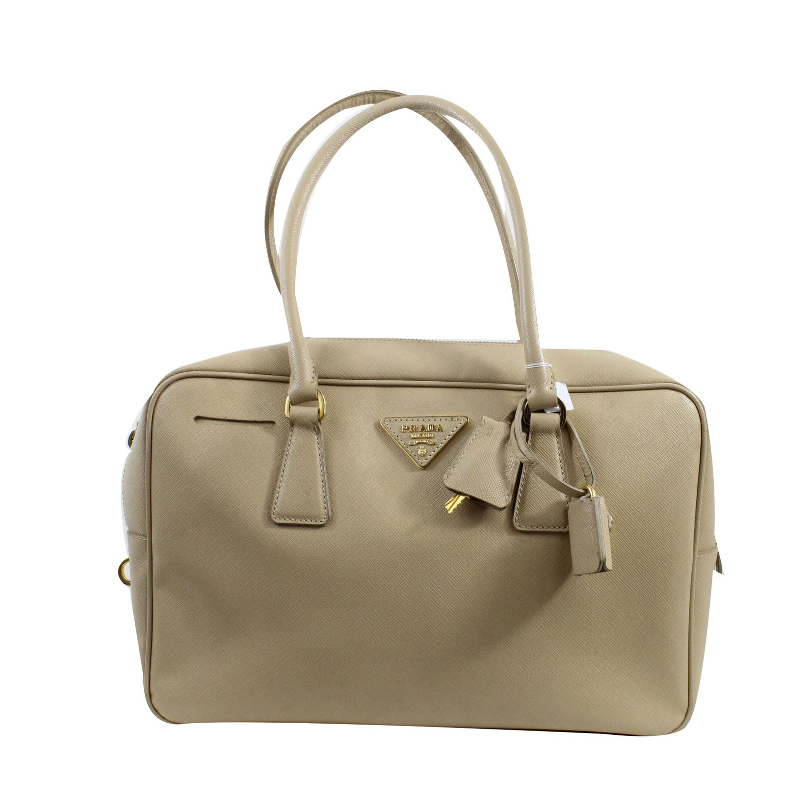 Prada Bauletto Handbags Leather Beige Ref 51059