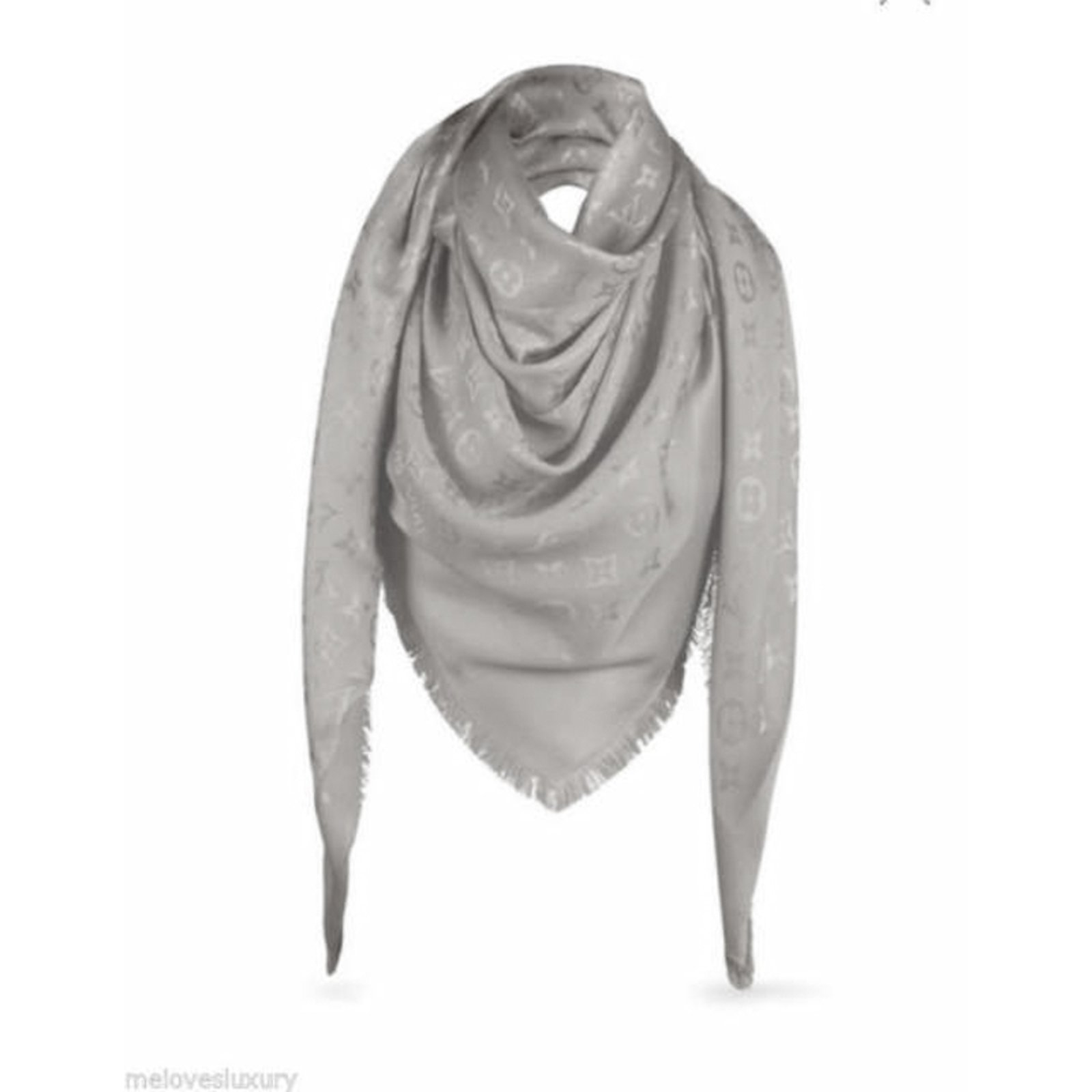 e7b0a457cb12 Louis Vuitton Classical Monogram Scarf Scarves Silk Beige ref.51158 ...