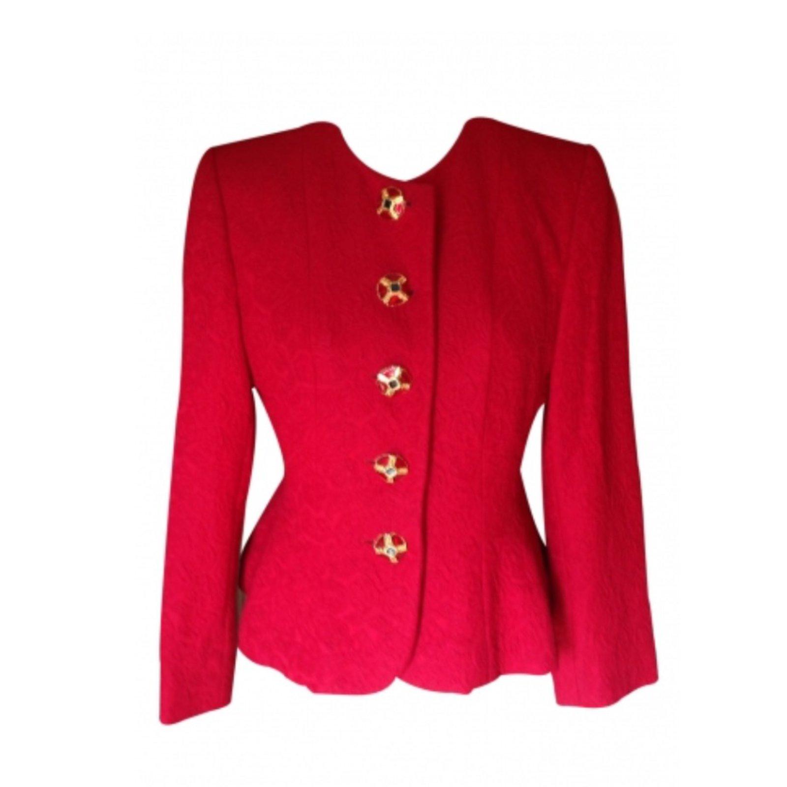 vestes yves saint laurent blazer rouge intense chyc laine rouge joli closet. Black Bedroom Furniture Sets. Home Design Ideas
