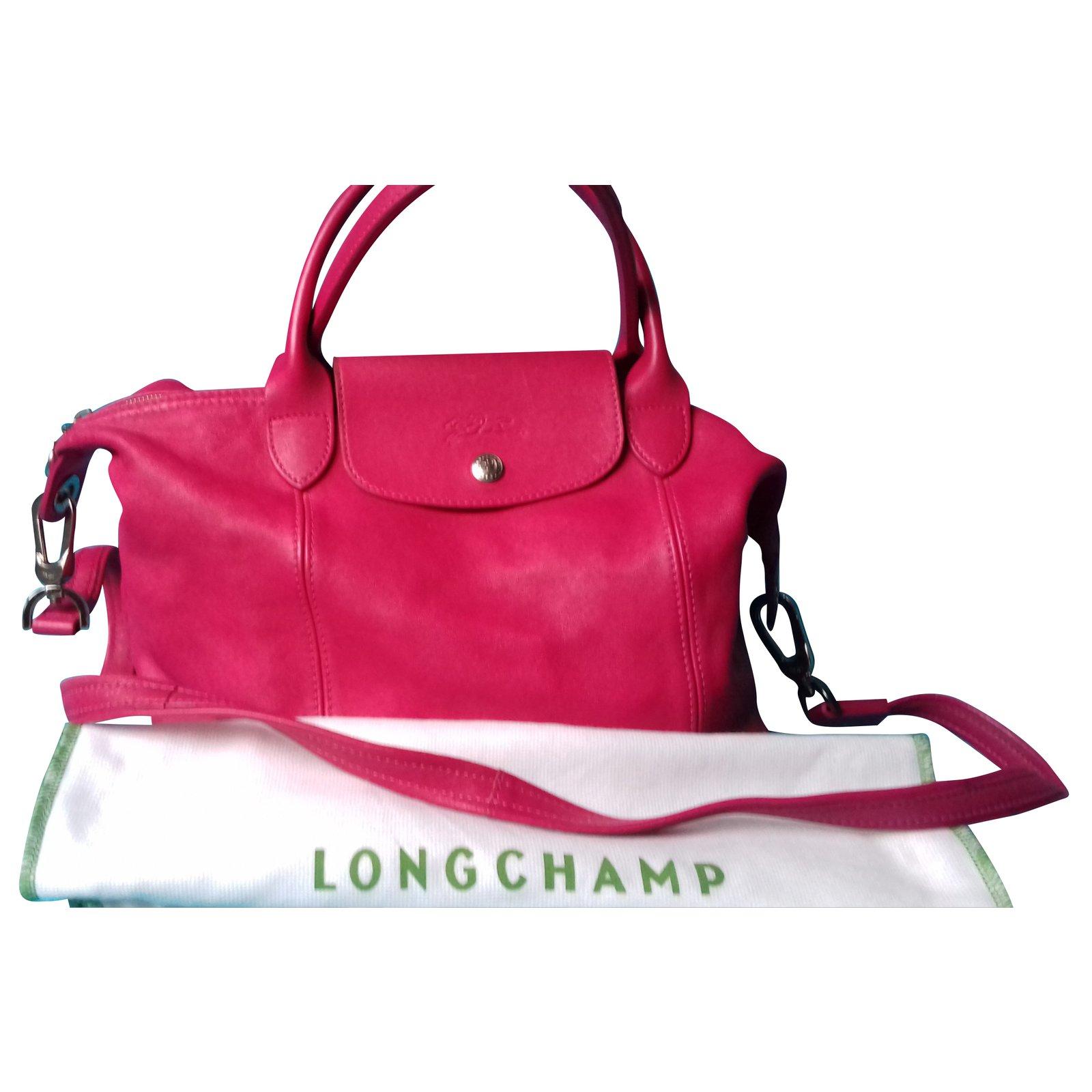 b4624e5e56 Sacs à main Longchamp Longchamp pliage CUIR fushia Cuir Rose ref.51583
