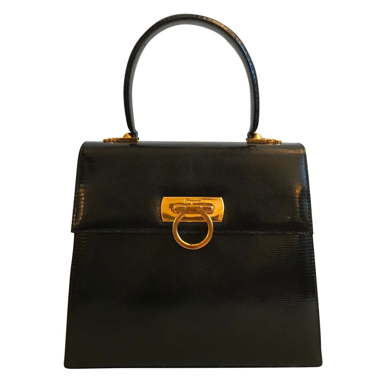 e5bf5ceda4c2 Salvatore Ferragamo Handbags Handbags Exotic leather Black ref.51652 ...