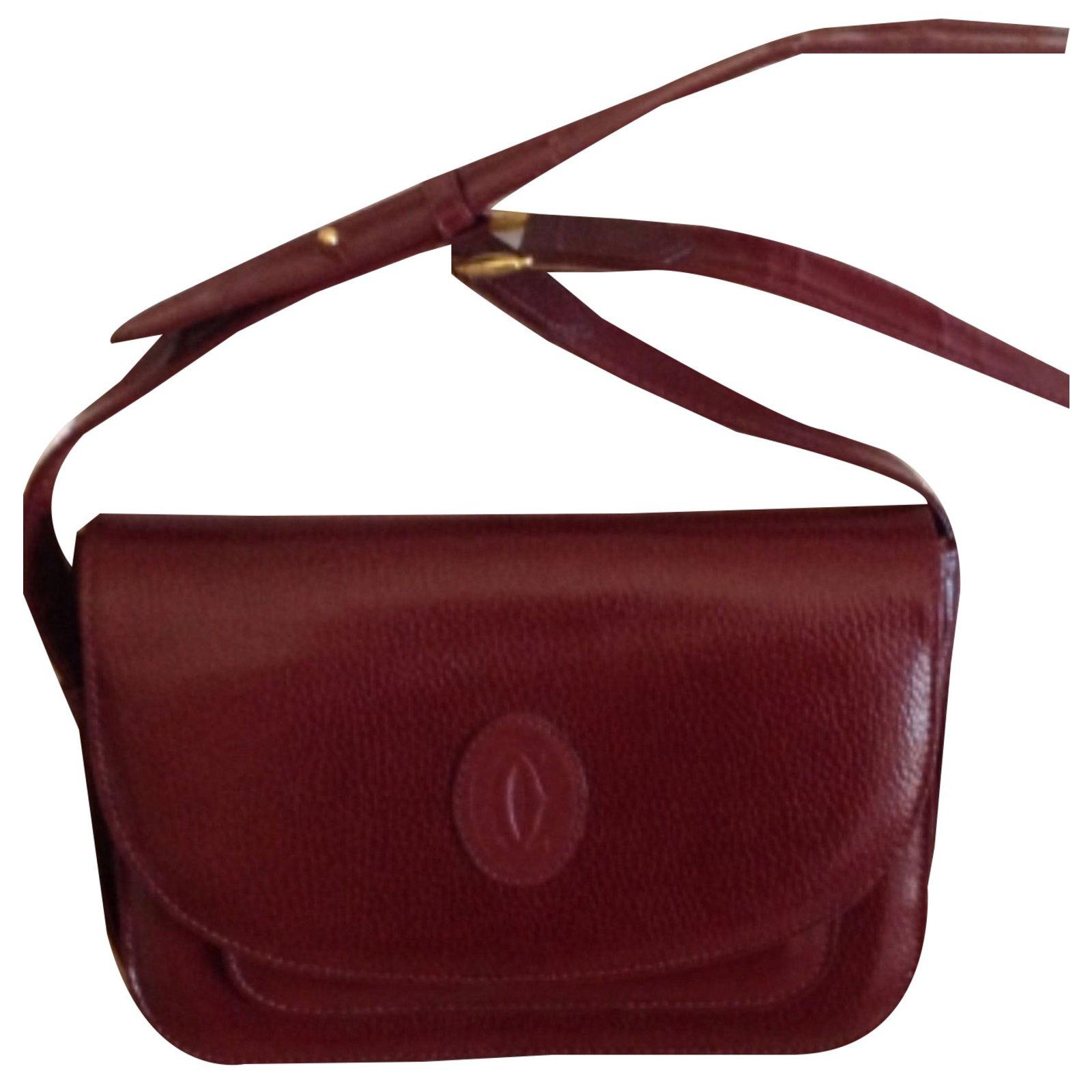 Cartier Handbags Leather Dark Red Ref 51698