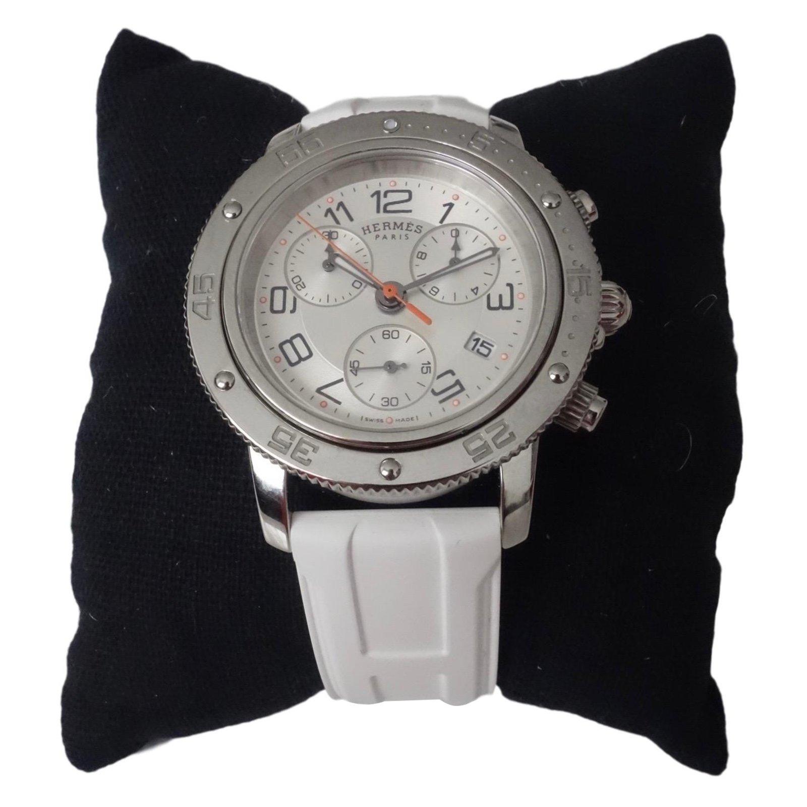 87879b9cfc01 Montres Hermès MONTRE HERMES CLIPPER GM CHRONO POUR DAME Acier Blanc  ref.51818