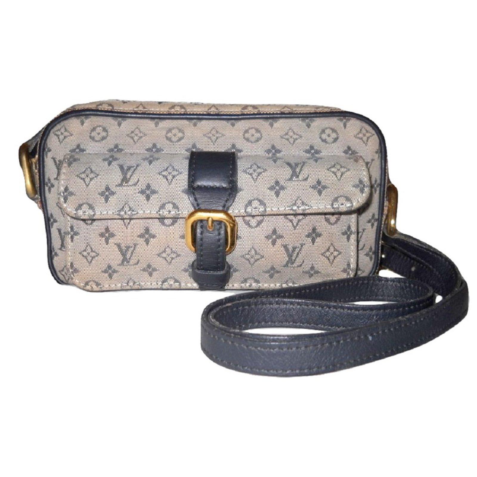 Louis Vuitton Vintage Juliette Mini Monogram Handbags Leather Cloth Blue Eggshell Ref 52354