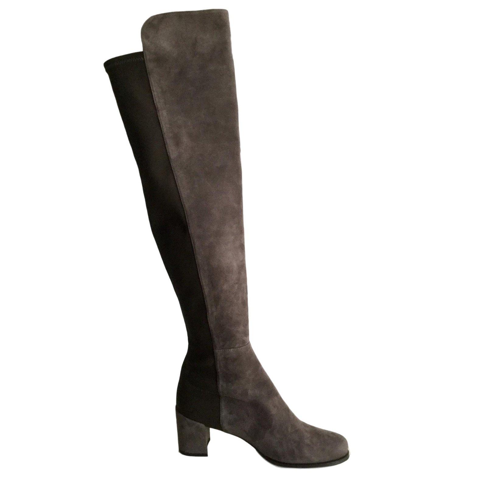 Stuart Weitzman 5050 Block Boots Suede Grey ref.52488