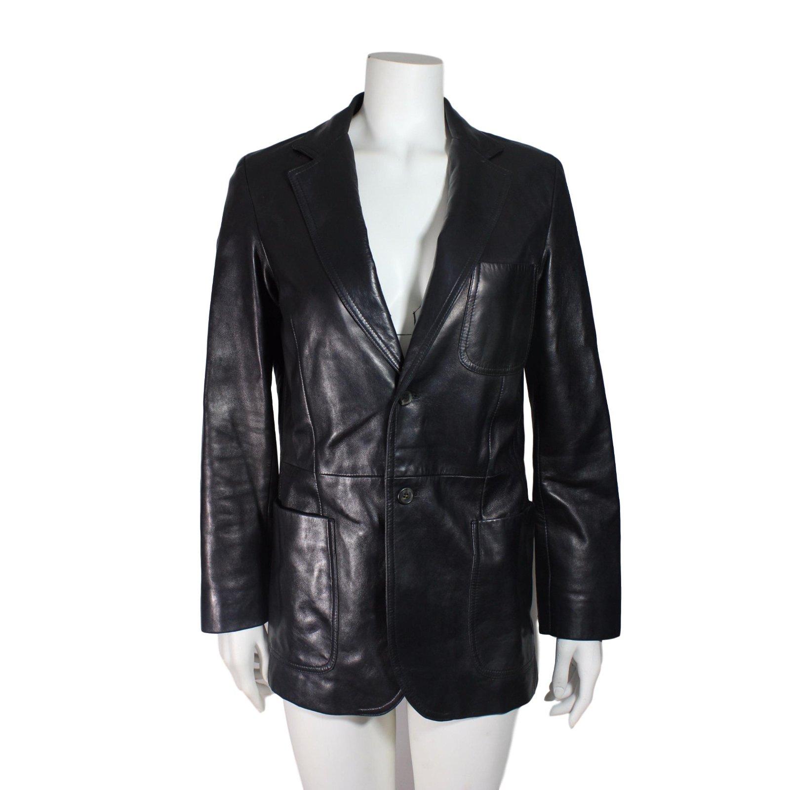 vestes prada veste en cuir cuir noir joli closet. Black Bedroom Furniture Sets. Home Design Ideas
