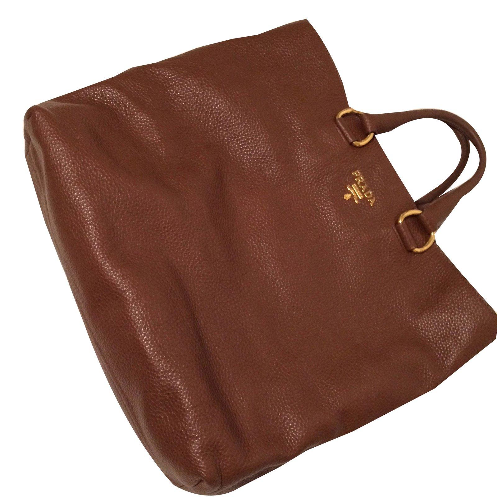 9f75339f2af7 Prada Vit. DAINO Handbags Leather Dark brown ref.52593