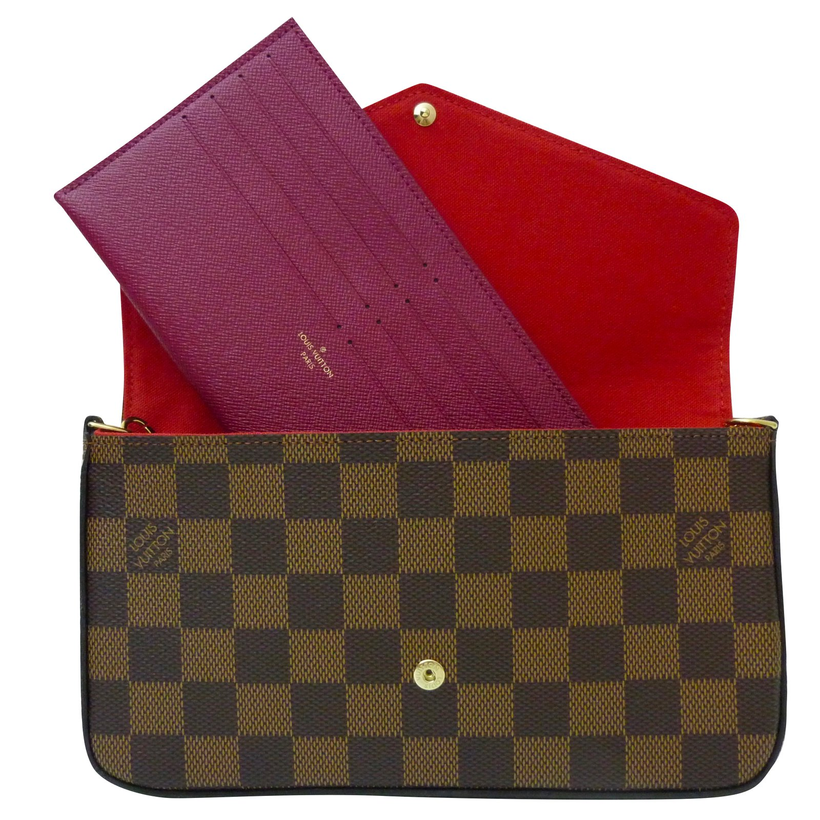 Louis Vuitton Clutch Bags Clutch Bags Leather Cloth Dark Brown Ref 8a721bfa706a0