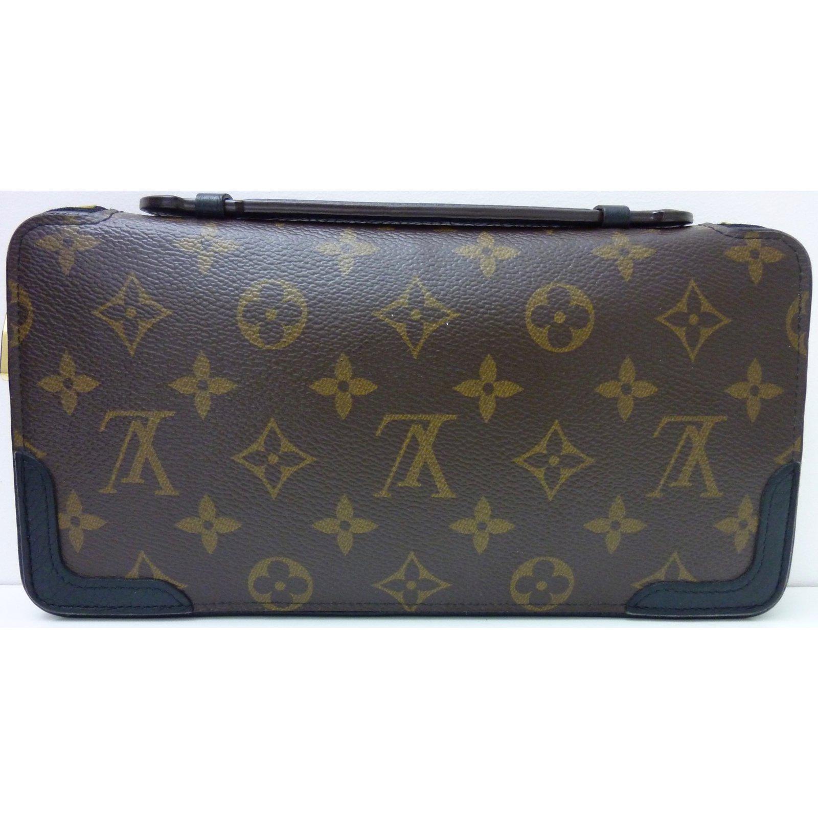 f1f0a8b7f220 ... louis vuitton daily organizer wallets leather cloth brown black ref ...