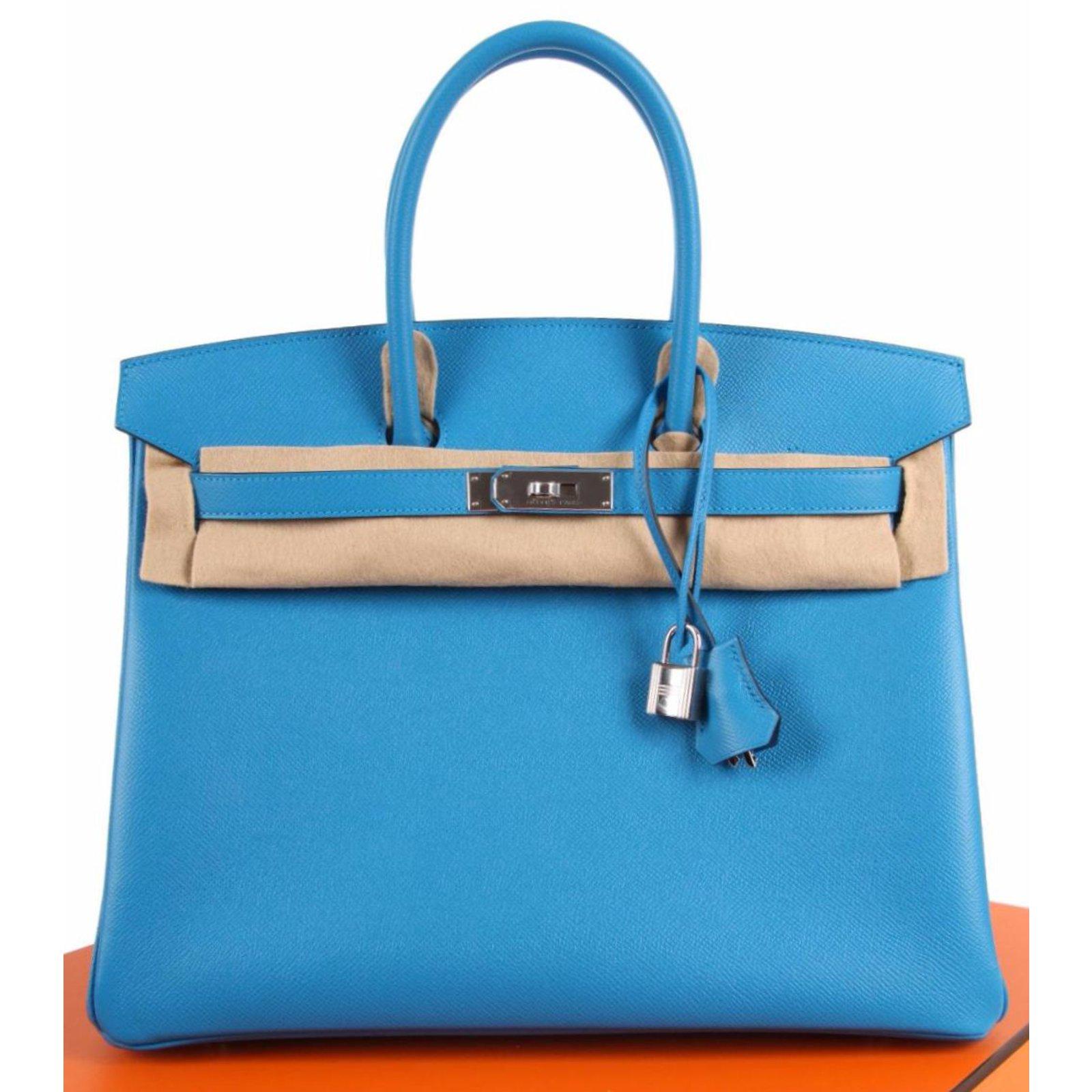 aec1ad5975 Sacs à main Hermès Birkin 35 Cuir Bleu ref.52901 - Joli Closet