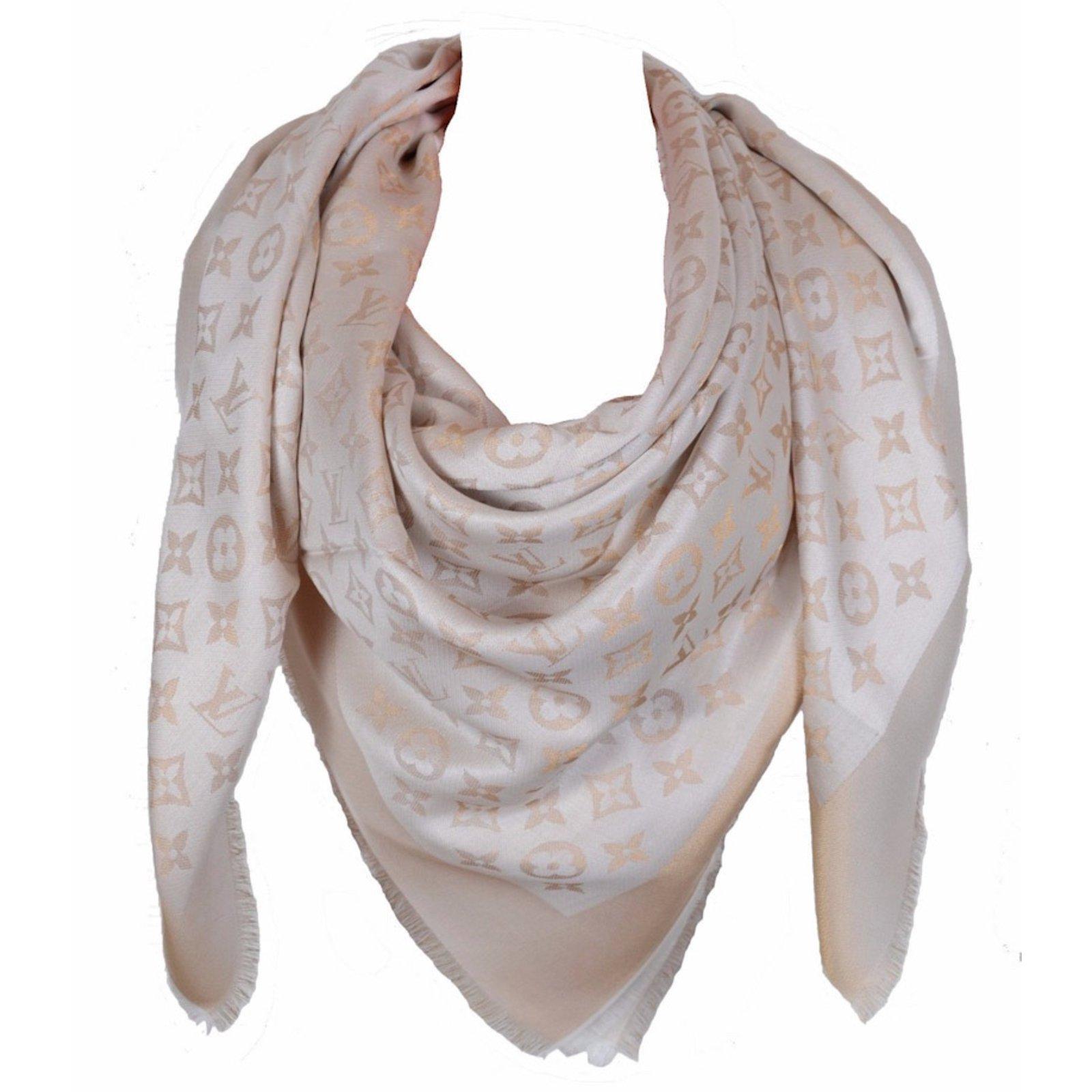 804e0d38a929 Louis Vuitton Classical Monogram Scarf Scarves Silk Beige ref.53206 ...