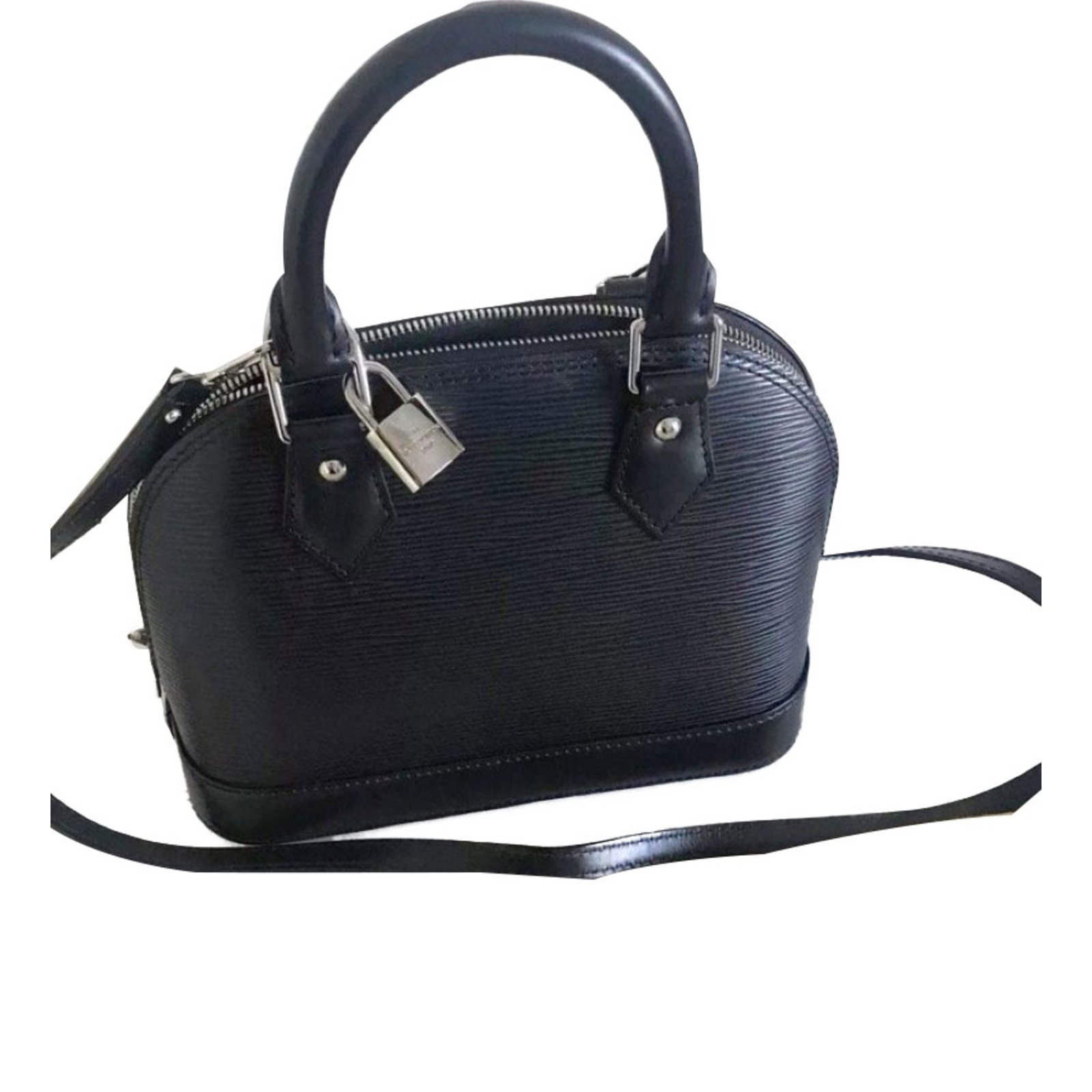 82e32b65dc12 Louis Vuitton Alma Bb Handbags Leather Black Ref 53661 Joli Closet