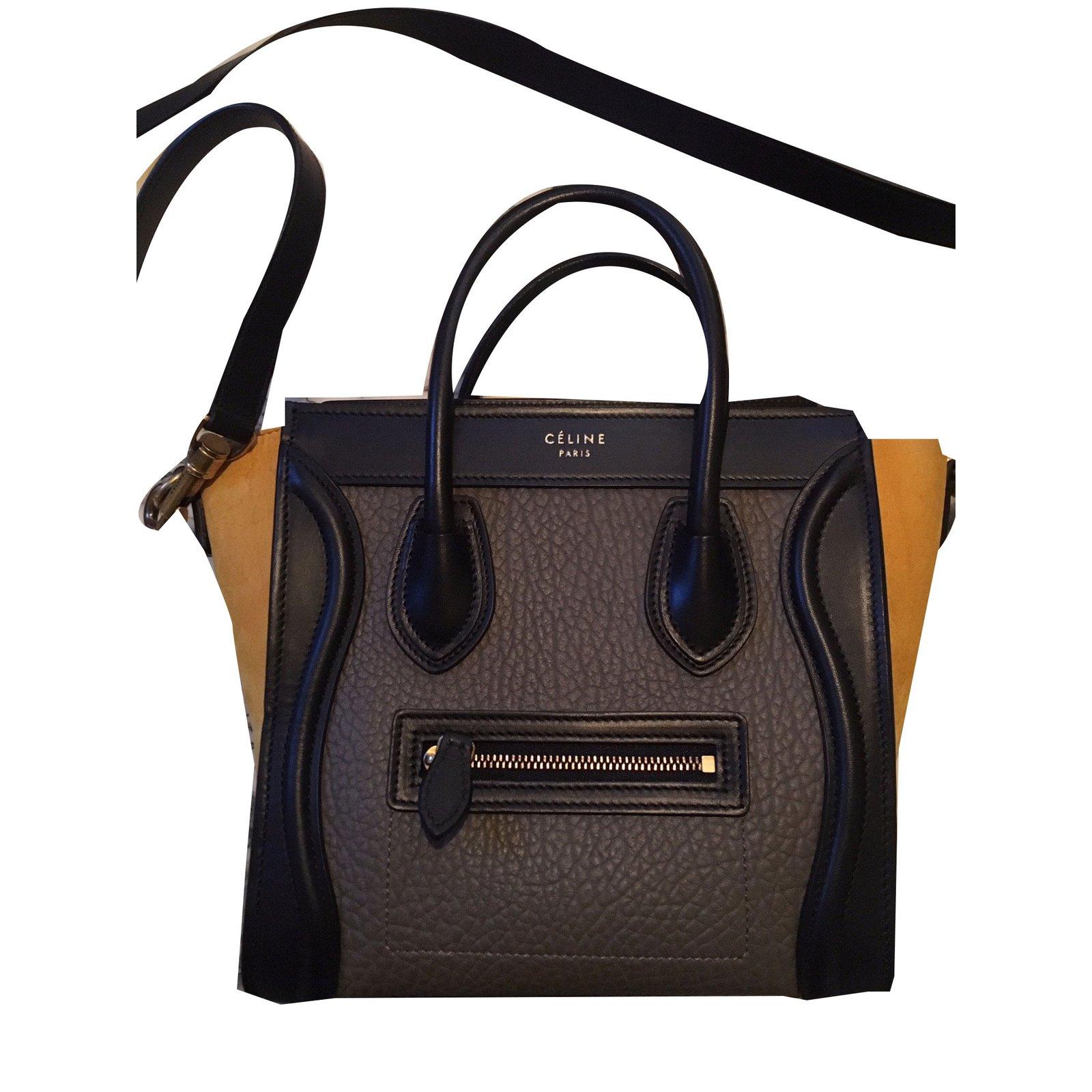 Céline Nano Luge Handbags Leather Grey Ref 53739