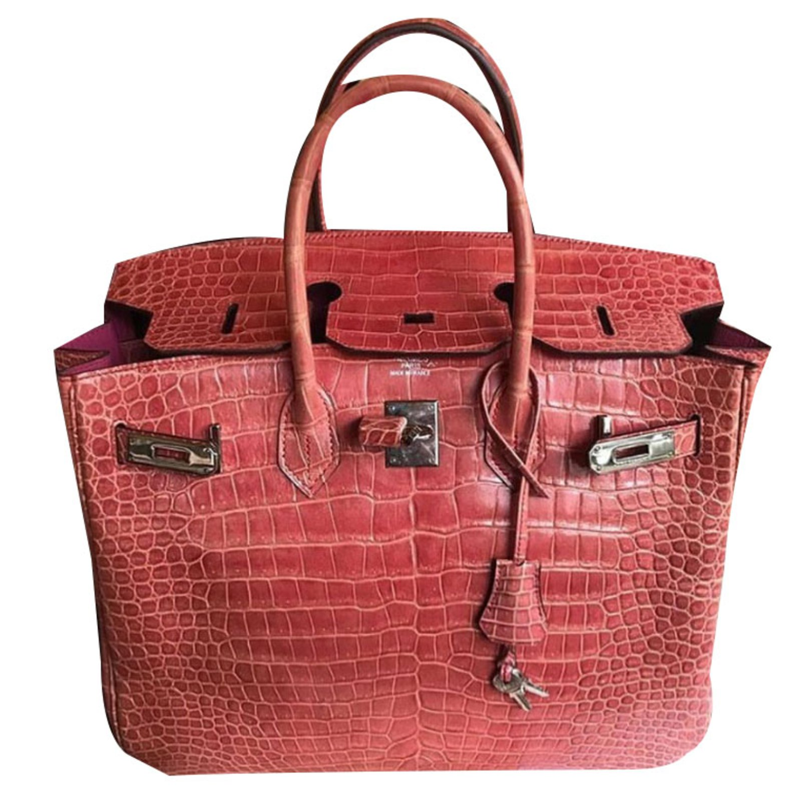 Hermès Birkin 35 croco Handbags Exotic leather Pink ref.53805 - Joli ... 2f30d51865