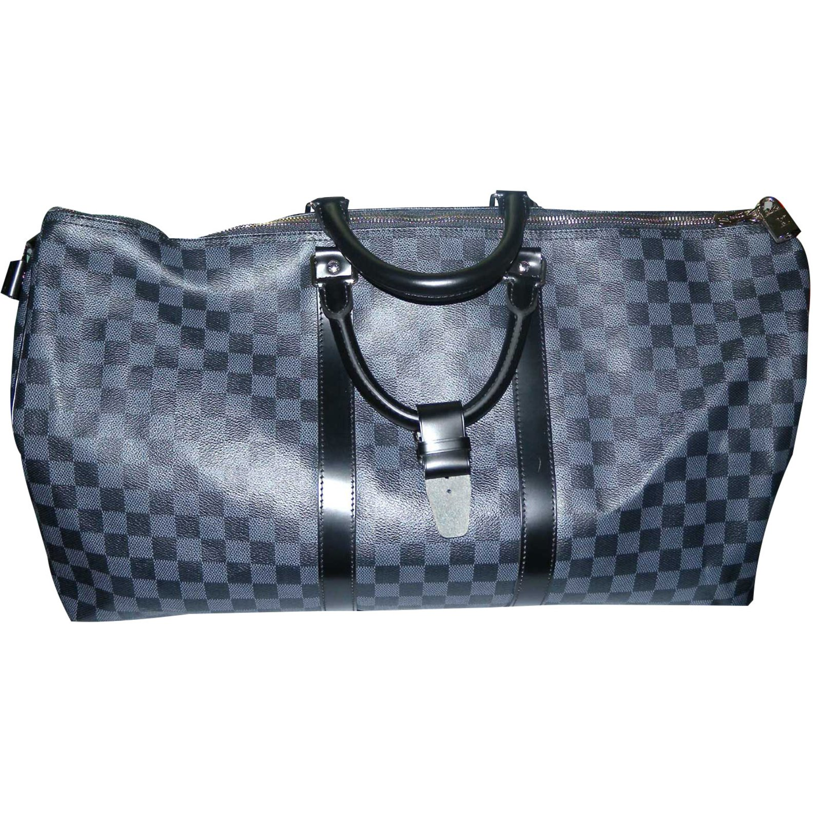 sacs de voyage louis vuitton keepall 55 cm toile damier graphite cuir toile noir gris. Black Bedroom Furniture Sets. Home Design Ideas