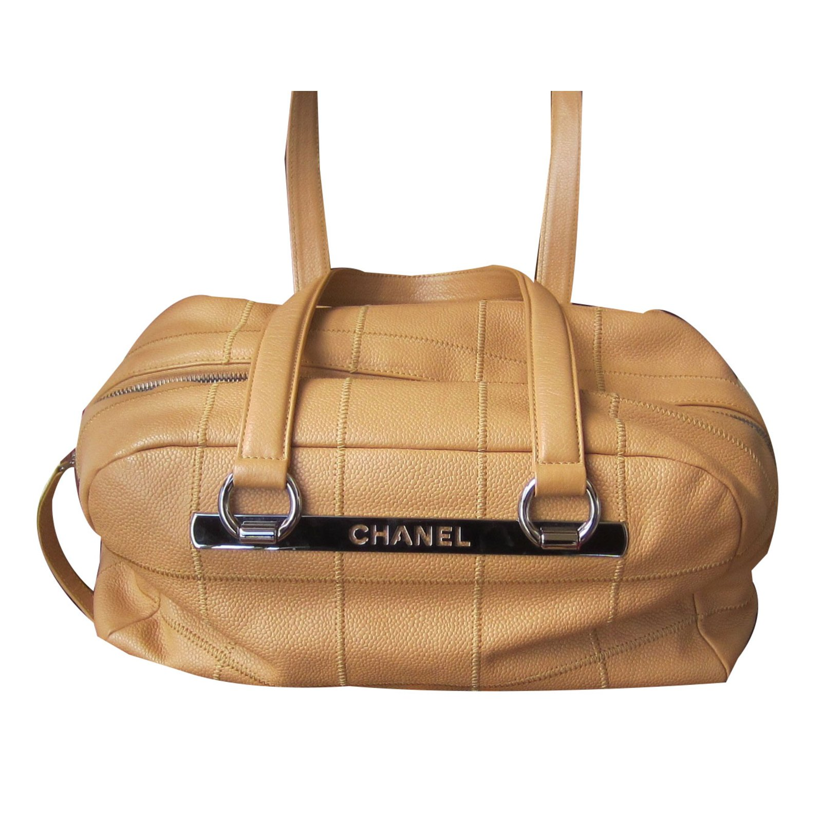 Chanel Bowling Bag Handbags Leather Beige Ref 53878