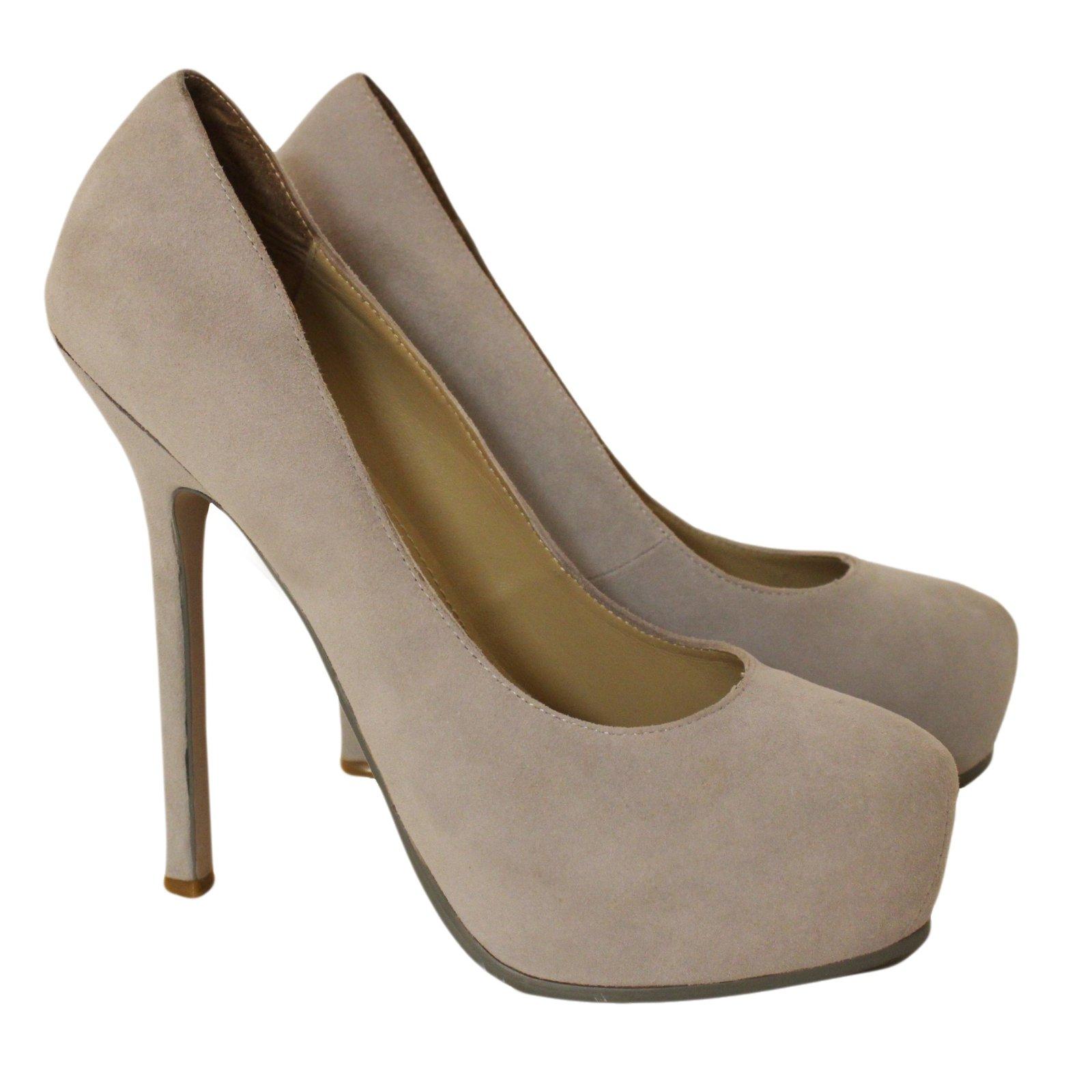 311d72598b4 Yves Saint Laurent Trib Too Heels Suede Grey ref.53913 - Joli Closet