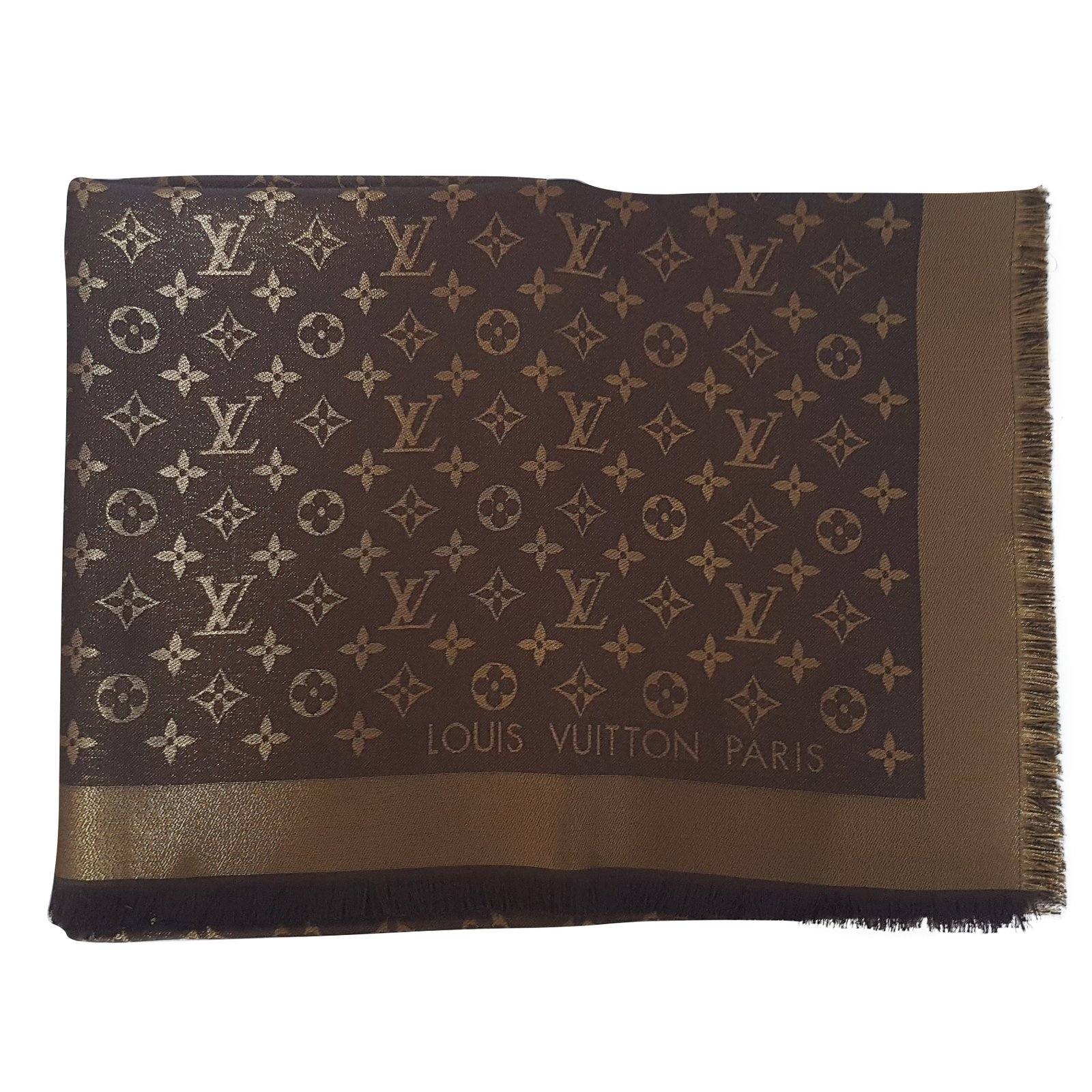 Louis Vuitton Louis Vuitton Shawl Monogram Shine Brown Scarves Other Brown  ref.54056 b0d955be994