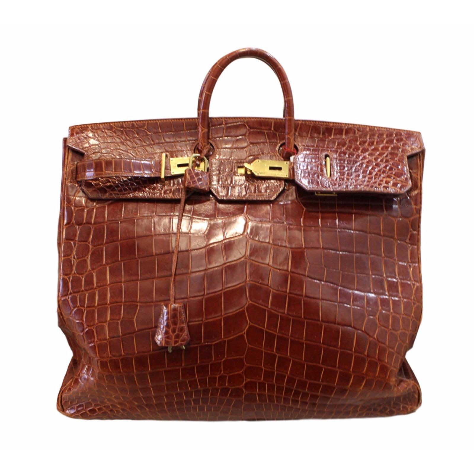 Sacs de voyage Hermès Birkin Voyage croco HAC Cuirs exotiques Marron  ref.54209 f5665f85775