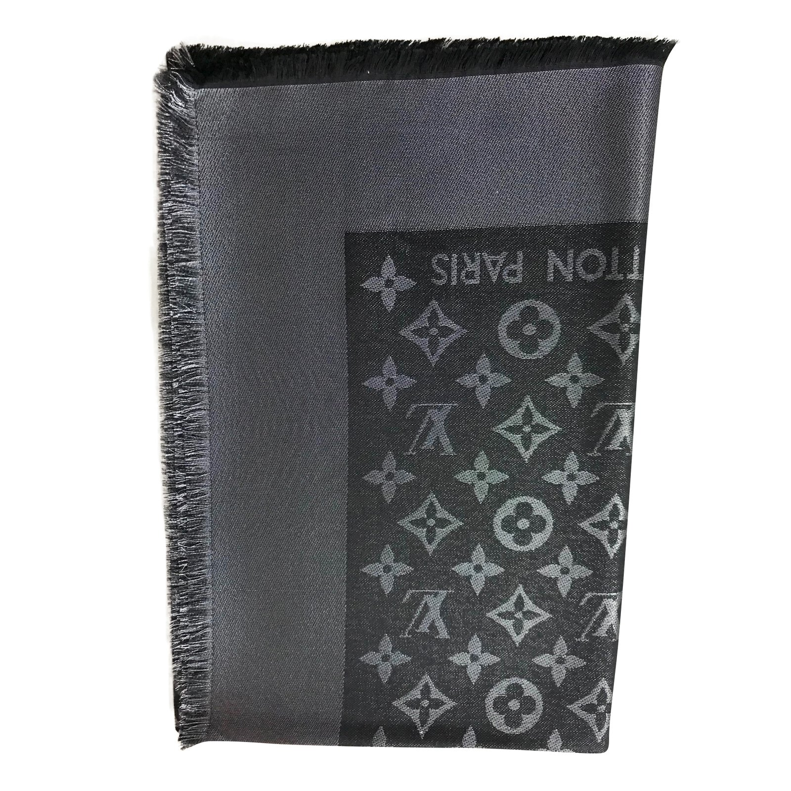 foulards louis vuitton foulards laine noir joli closet. Black Bedroom Furniture Sets. Home Design Ideas