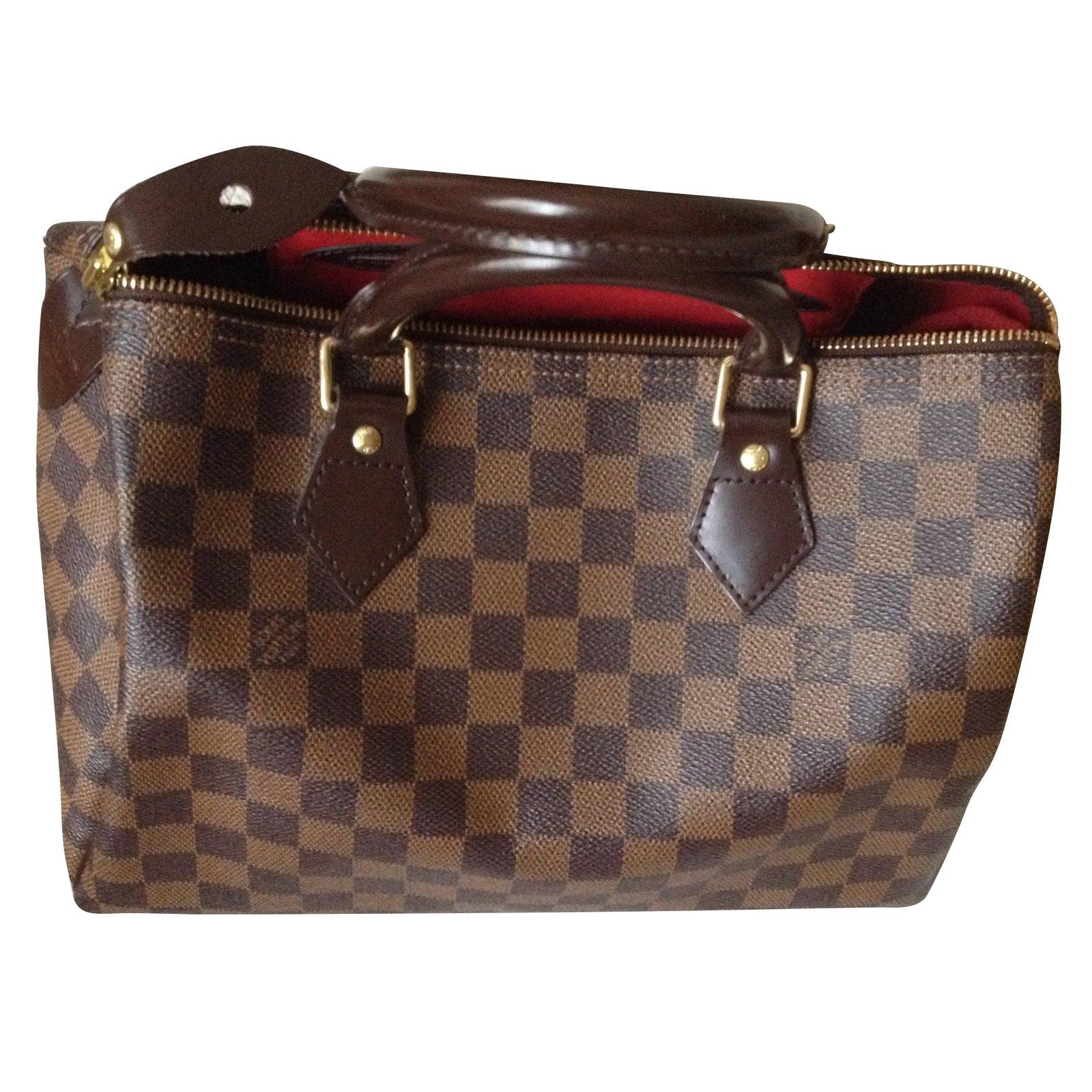 617aaadc8b35 Louis Vuitton Speedy damier ébène 30 Handbags Leather Brown ref.54522