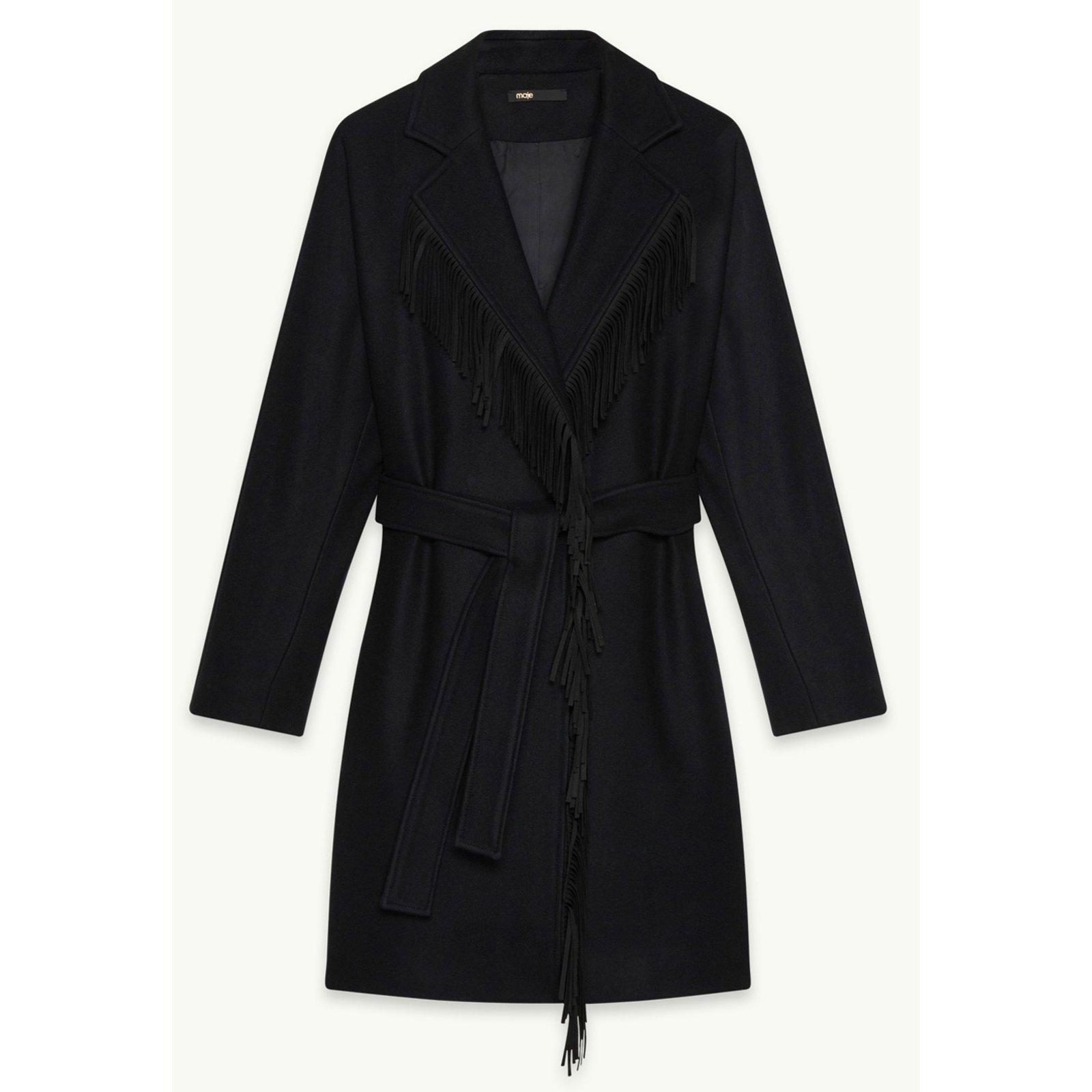 manteau marine avec franges maje
