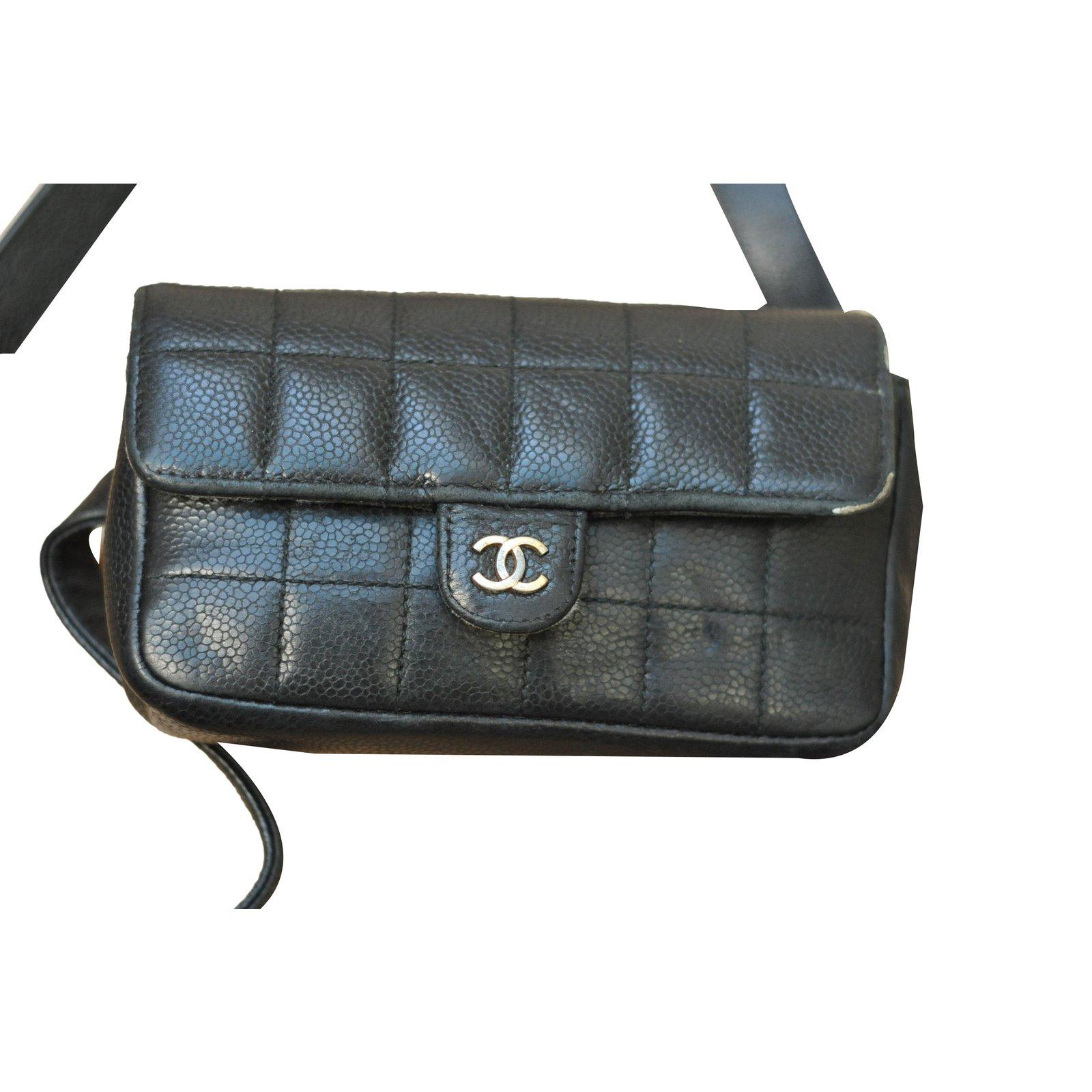 Chanel Uniform belt bag Clutch bags Leather Black ref ...