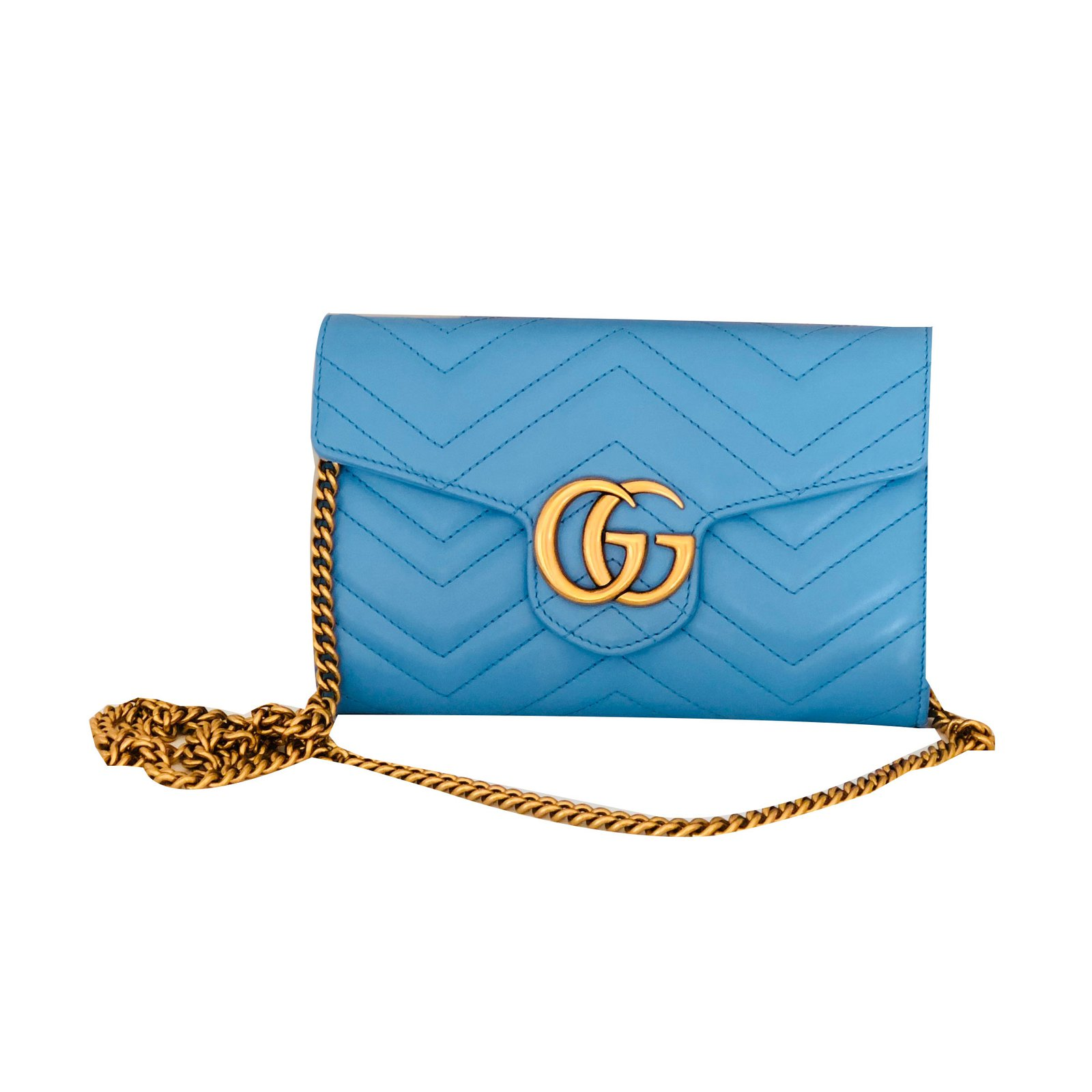 508bf90776dc6a Gucci Marmont Chevron Chain wallet bag Handbags Leather Blue ref.55520 -  Joli Closet