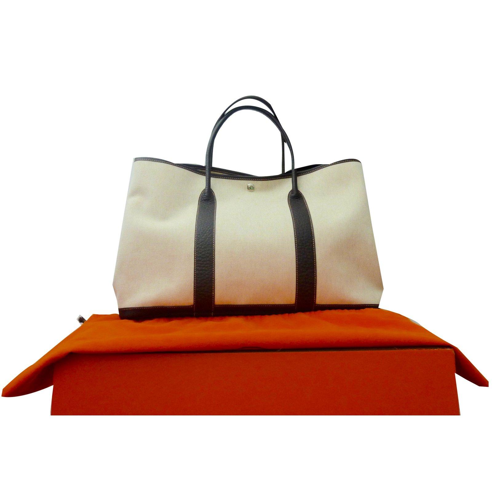 645cbe0642f2 ... where to buy hermès garden party gm handbags leathercloth brownbeige  ref.55580 1df64 2c857