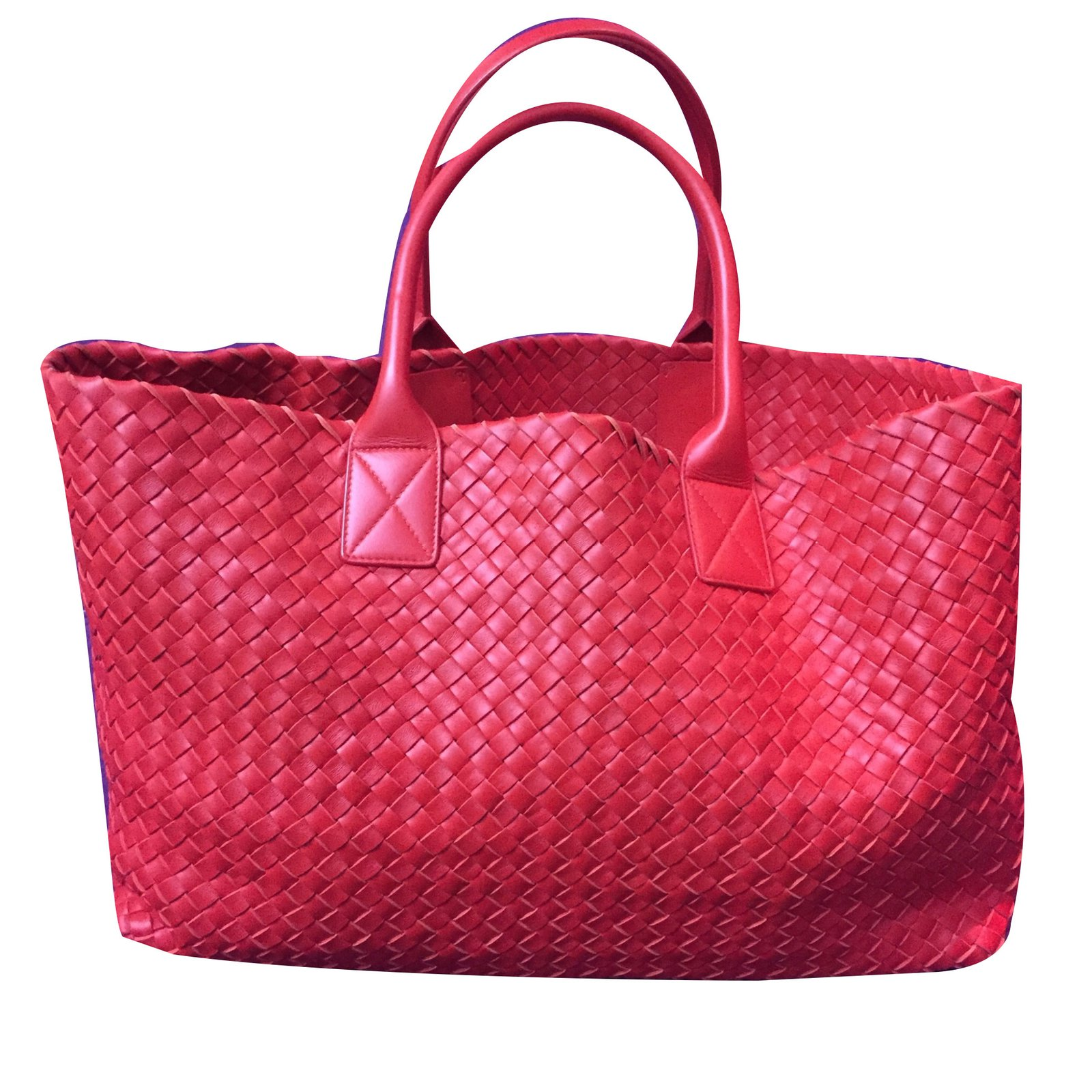 Bottega Veneta Cabas Handbags Leather Red ref.55717 - Joli Closet 7949e02dad