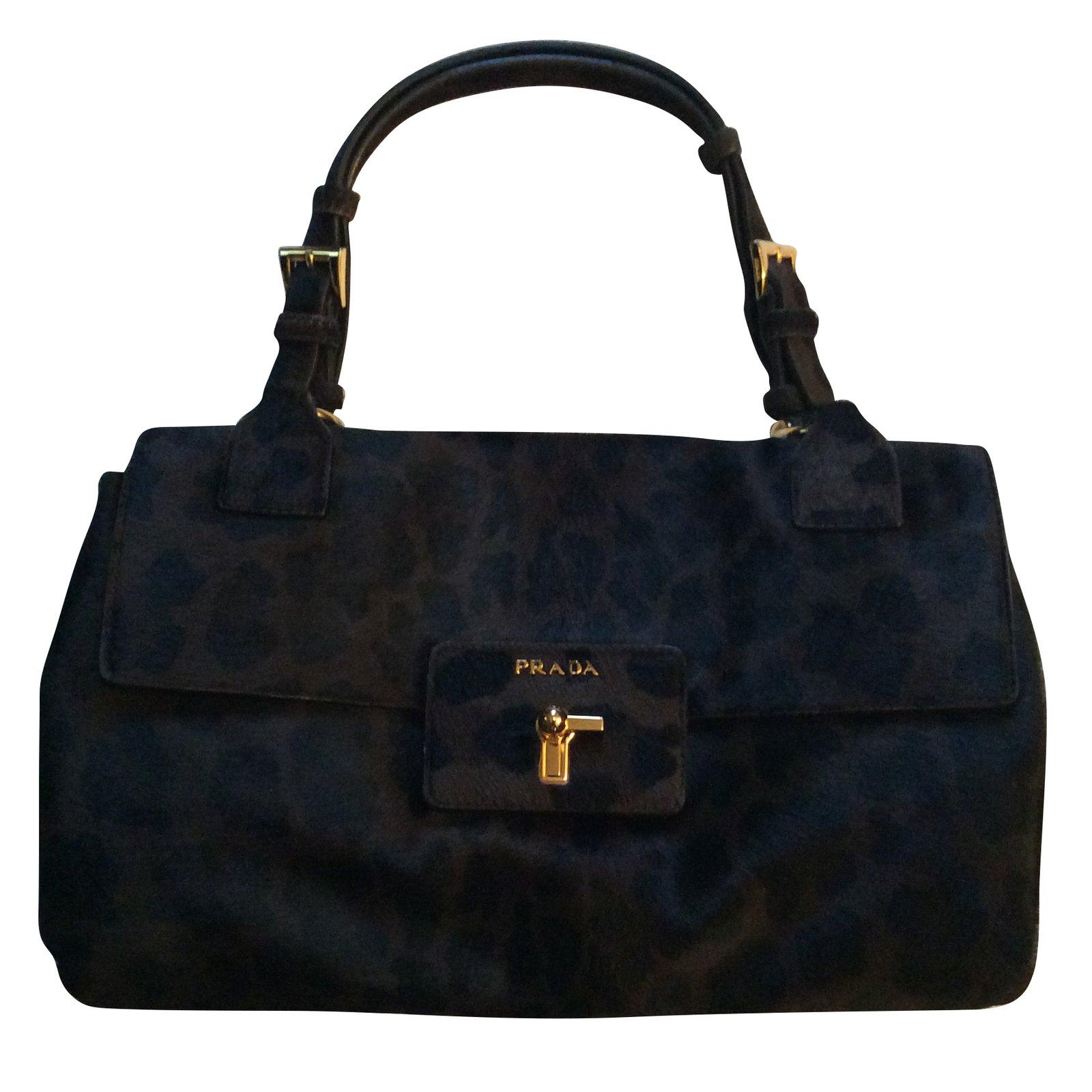 ... new zealand prada handbags handbags pony style calfskin dark brown  ref.55892 117de cf0c5 1b9c4c01a02ed