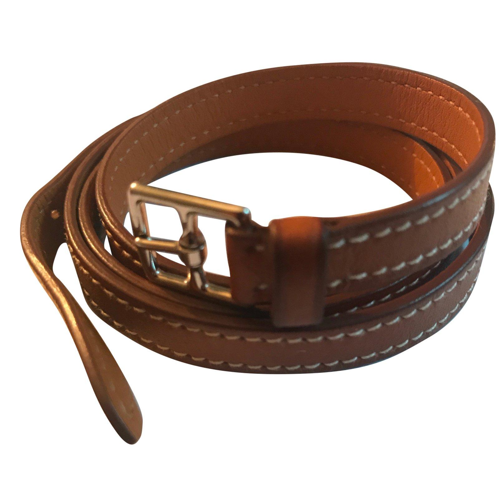 Bracelets Hermès Bracelet cuir 4 tours Hermès Cuir Marron ref.55899