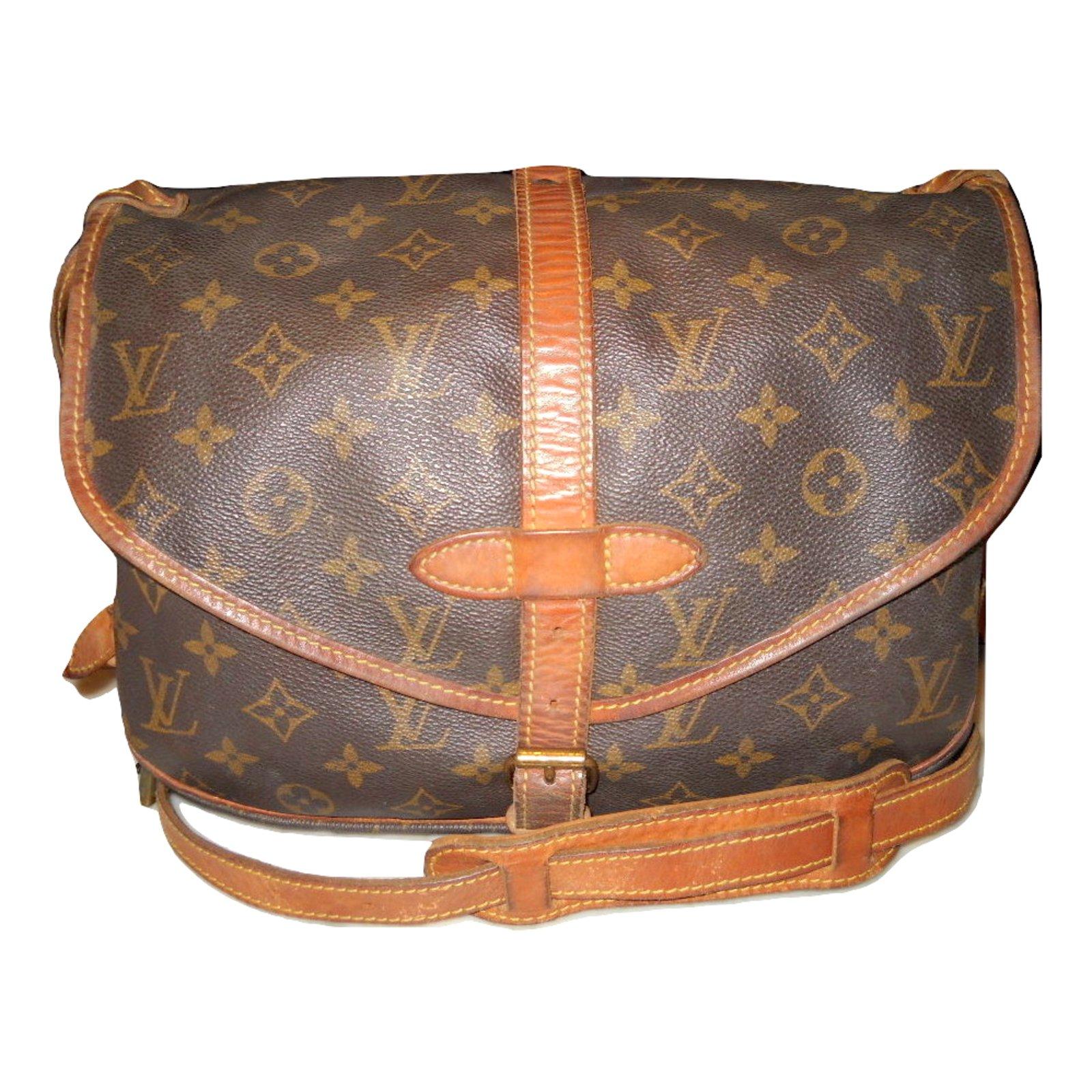 Louis Vuitton Vintage Saumur 30 Monogram Handbags Leather Cloth Brown Ref 56037