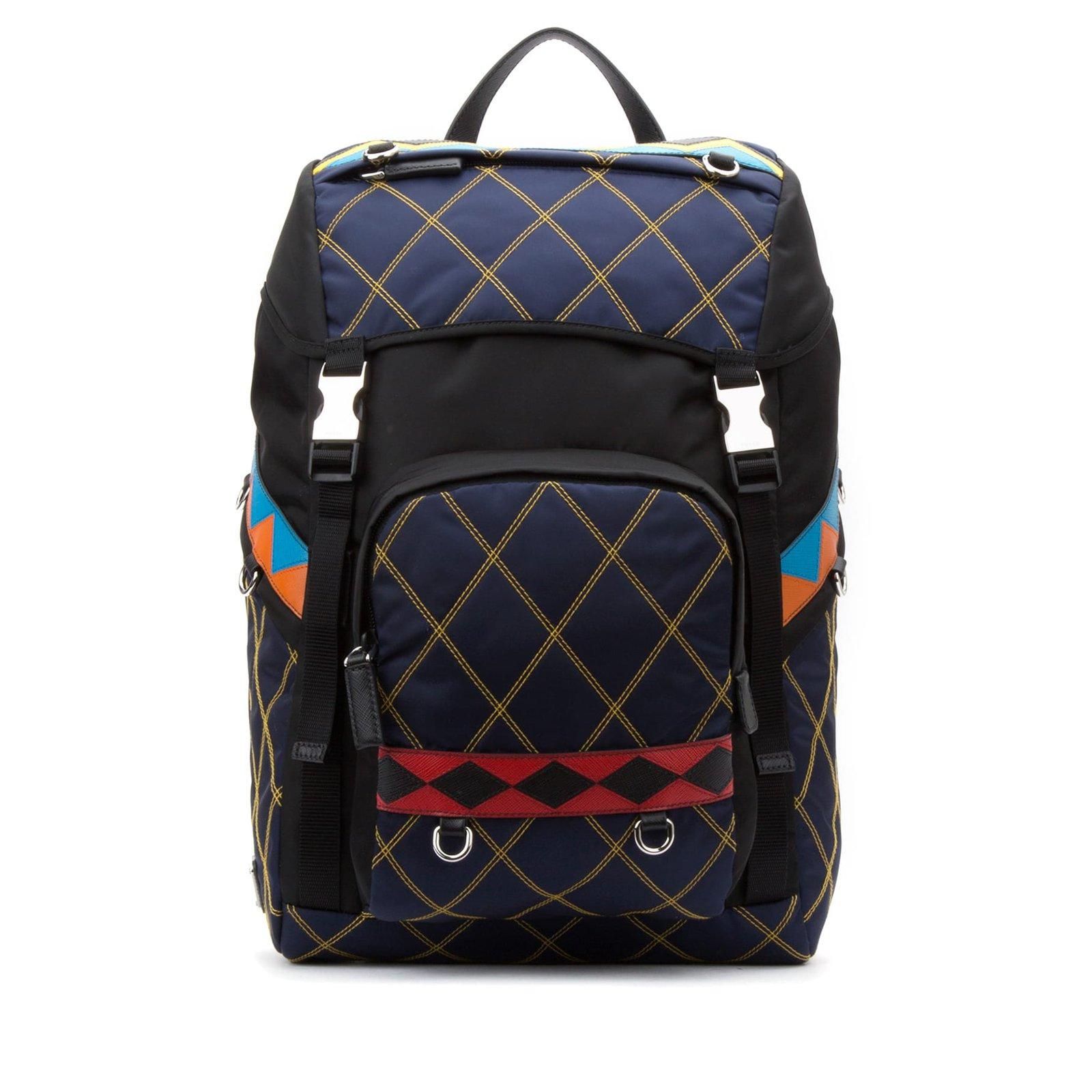 eeca9ec522d5 ... promo code for prada prada backpack new bags briefcases nylon blue  ref.56068 7d2fd bf5d3