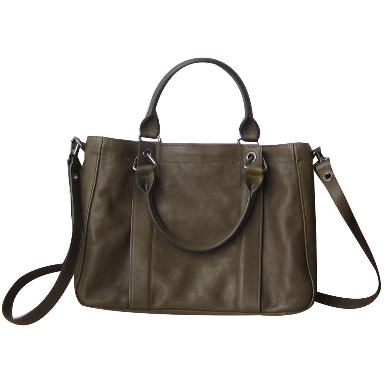 Longchamp Handbags Leather Khaki Ref 56193