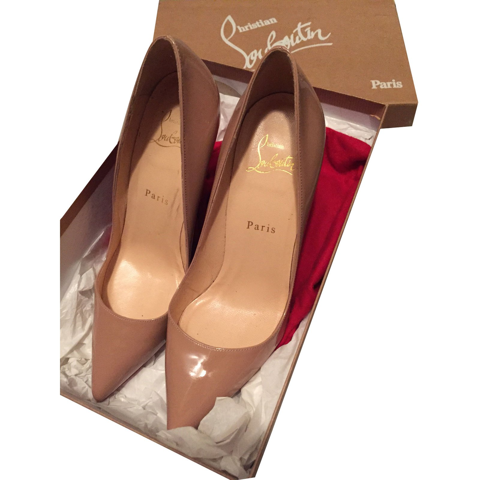 best sell detailed pictures shades of Christian Louboutin Pigalle Heels Patent leather Beige ref.56383 ...