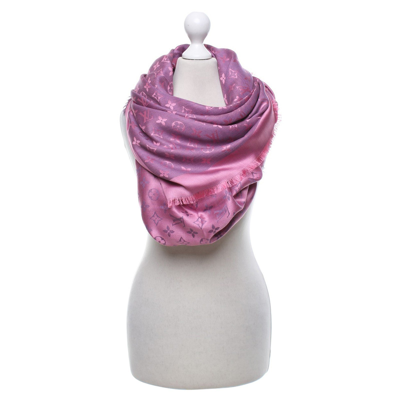 79643fbbccfe6 Louis Vuitton Shawl fuxia monogram Vuitton Scarves Silk