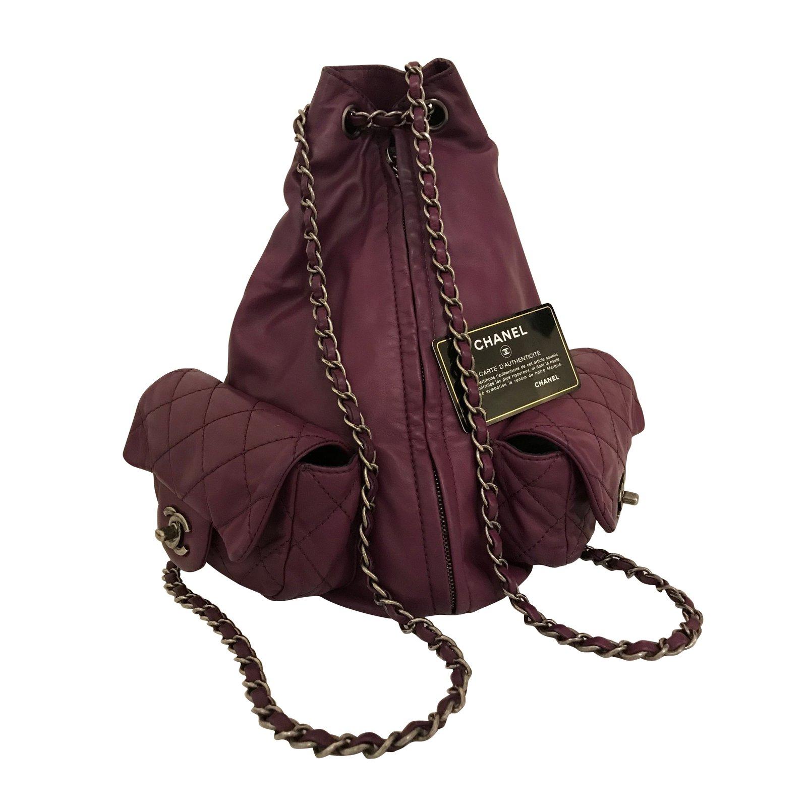 Chanel Lambskin Large Timeless Backpack In Purple Handbags Leather Ref 56873