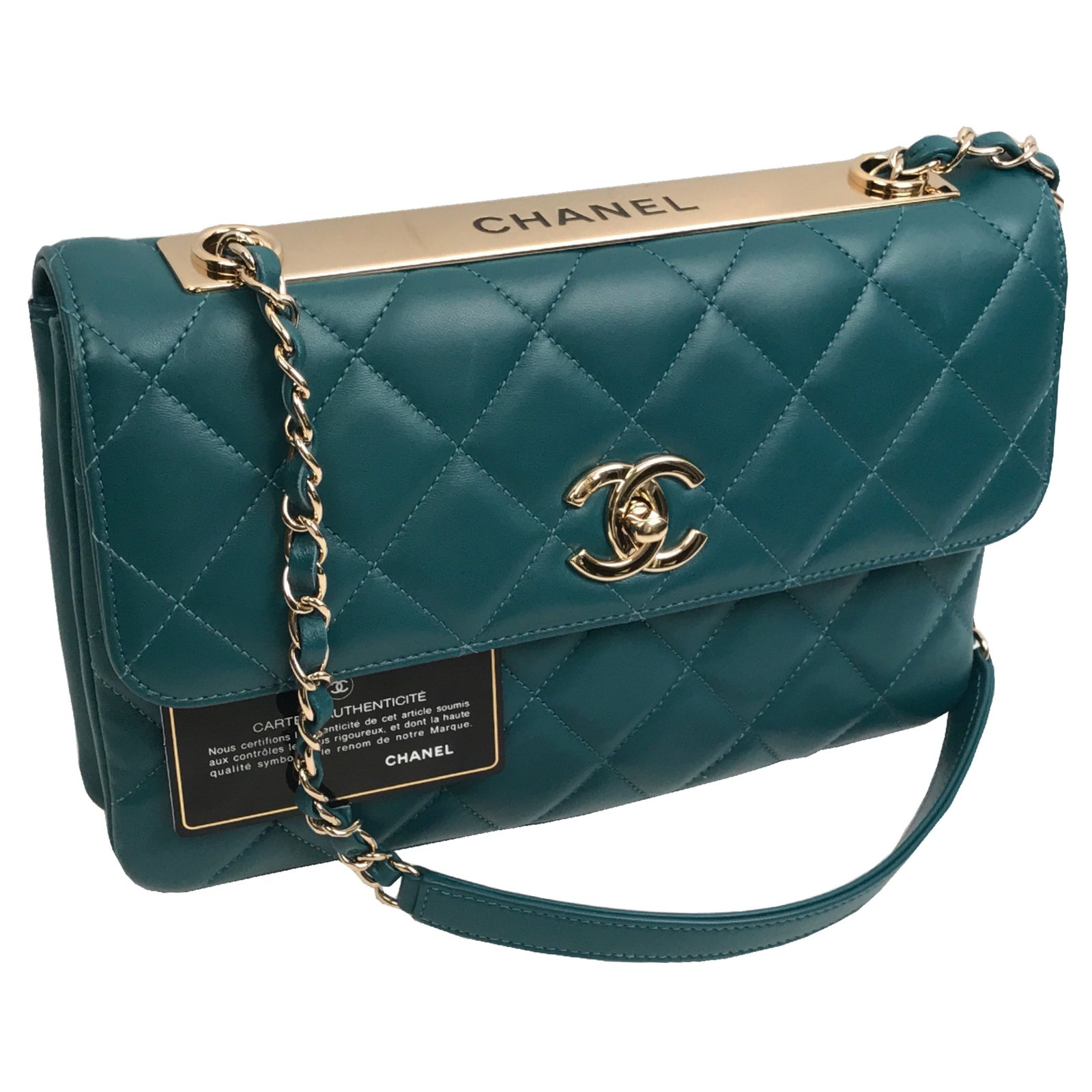 77cb4c8f90 Chanel CHANEL QUILTED LAMBSKIN TRENDY CC FLAP BAG with gold hardware.  Handbags Leather Blue ref