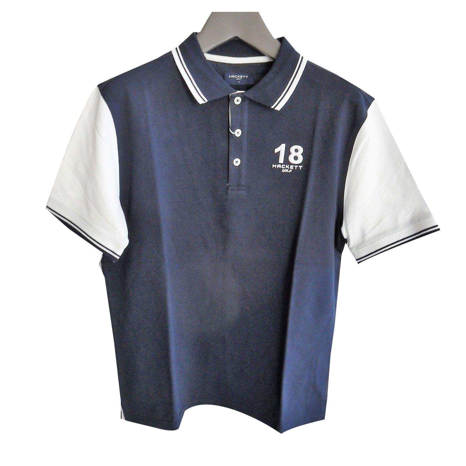 Hackett London Hackett brand new men s navy blue   white polo shirt Polos  Cotton White 11cd5720bc3e