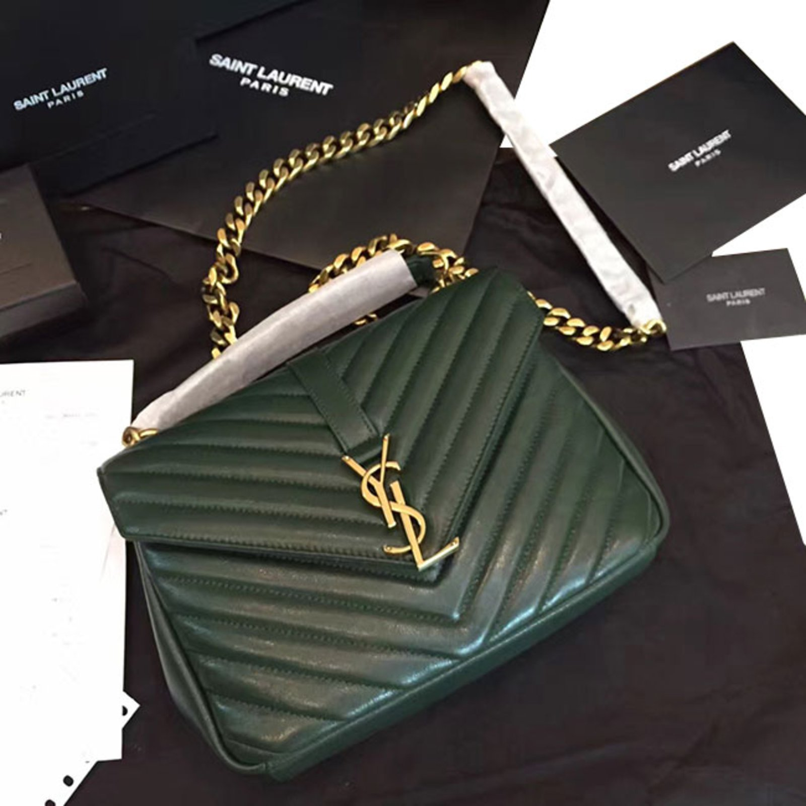 Sacs 224 Main Yves Saint Laurent Ysl Green College Chain