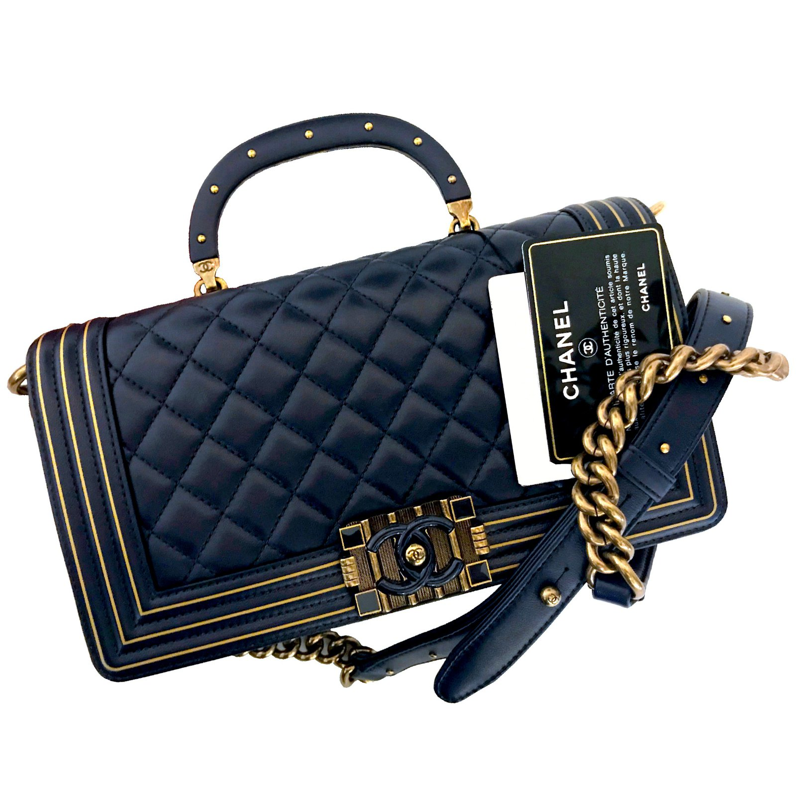 19cc990fab76 Chanel Chanel Navy Blue Gold Lambskin and Resin BOY STUDDED HANDLE BAG from  Chanel Metiers D
