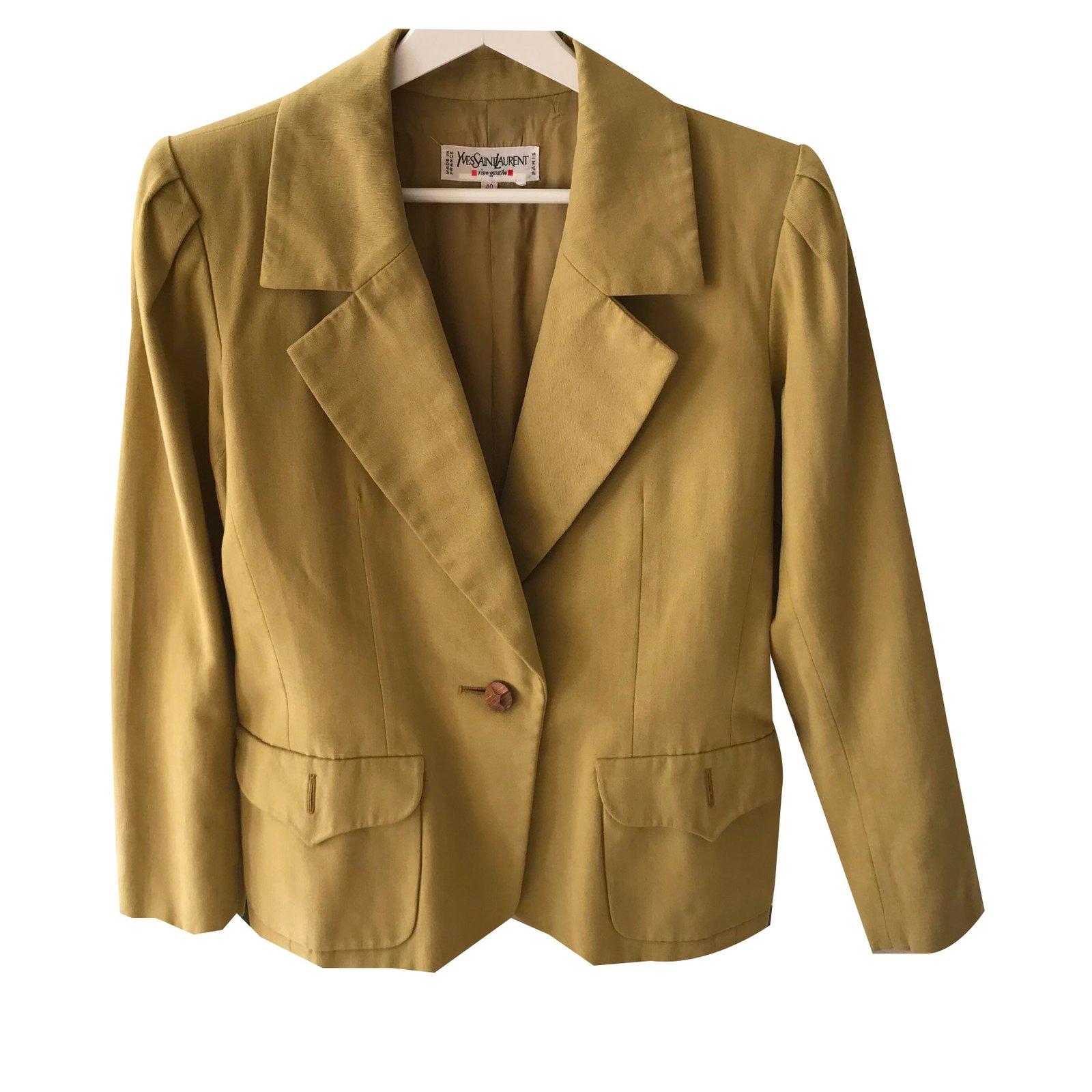 98a5c8a1d08 Yves Saint Laurent YVES ST LAURENT RIVE GAUCHE Jackets Cotton Khaki  ref.57197