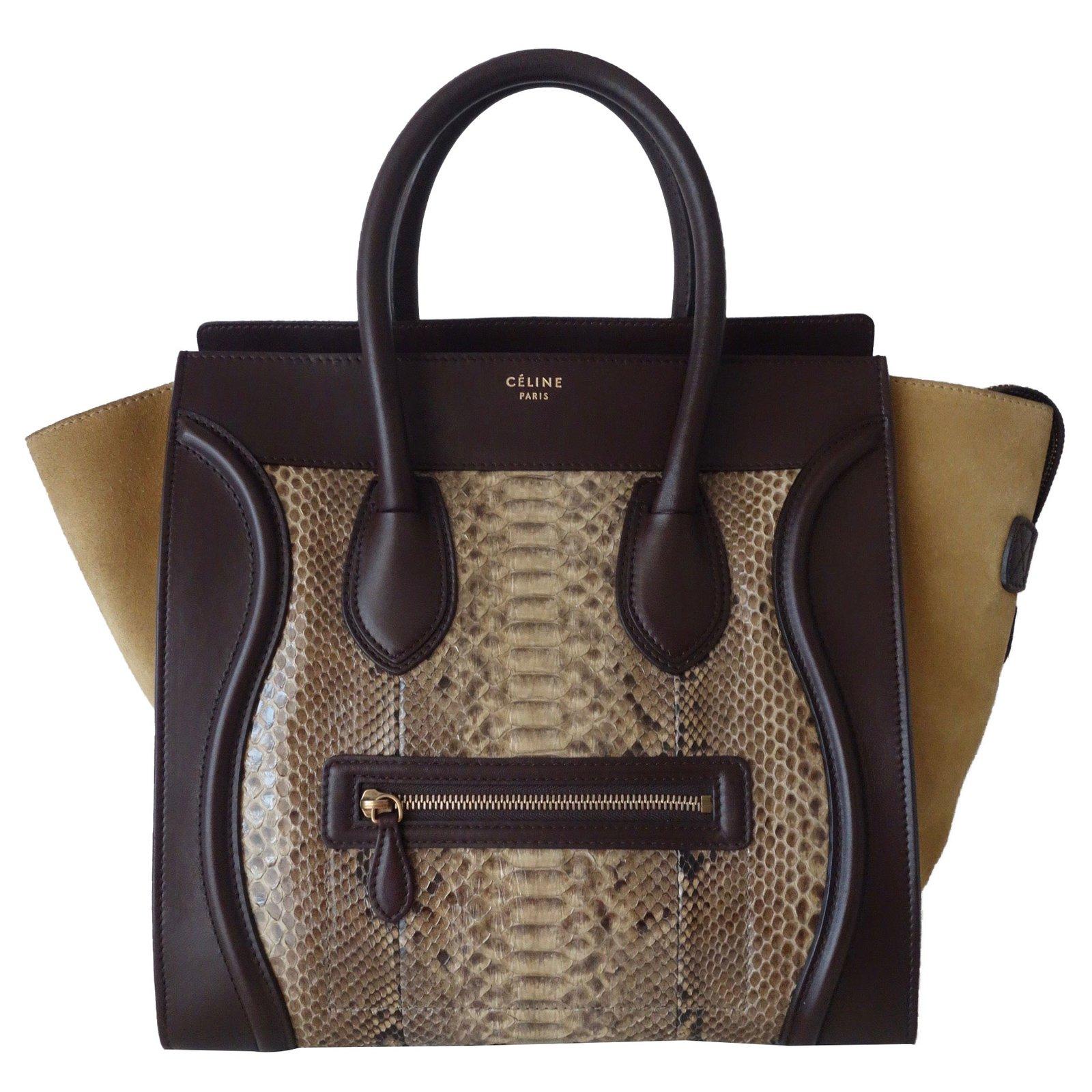 Céline Celine Luge Python Handbags Leather Brown Mustard Ref 57357